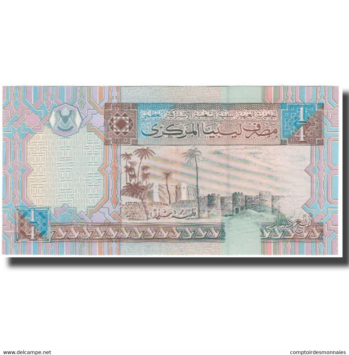 Billet, Libya, 1/4 Dinar, KM:62, NEUF - Libya