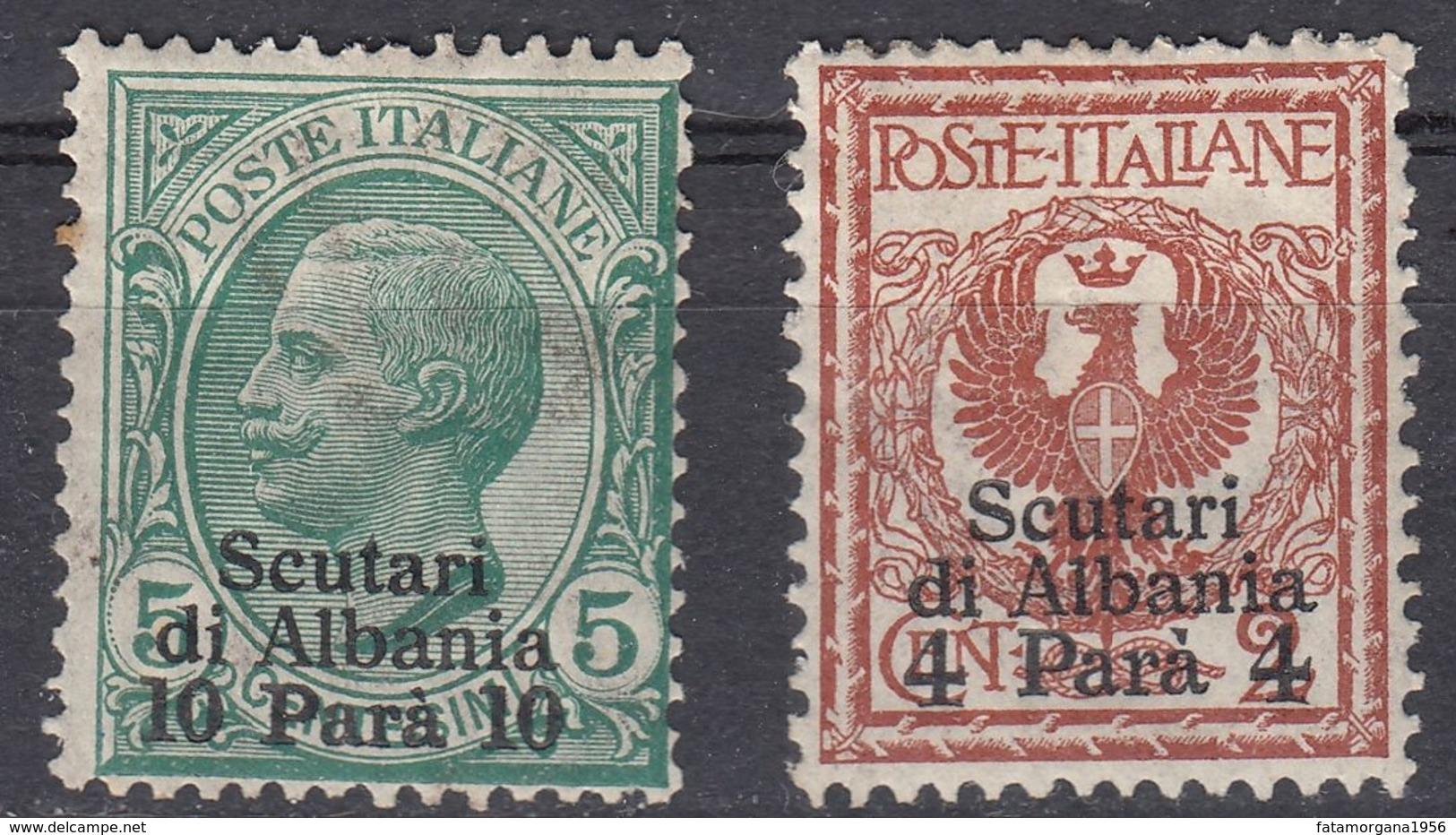 ITALIA - Ufficio Di Scutari D'Albania - 1909 - Lotto Di 2 Valori Nuovi MH: Unificato 1 E 9. - 11. Foreign Offices