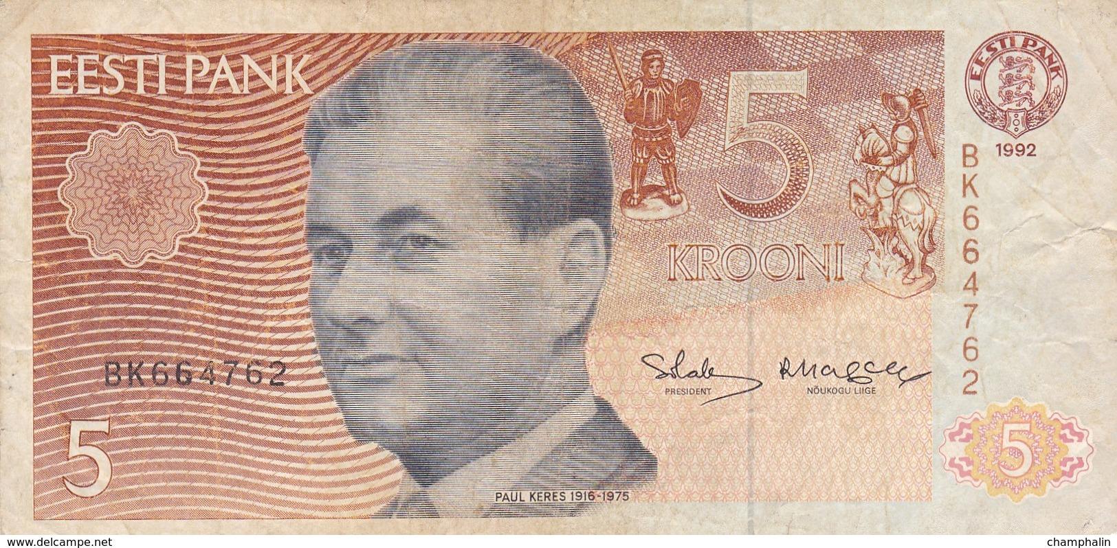 Estonie - Billet De 5 Krooni - Paul Keres - 1992 - P71b - Estonia