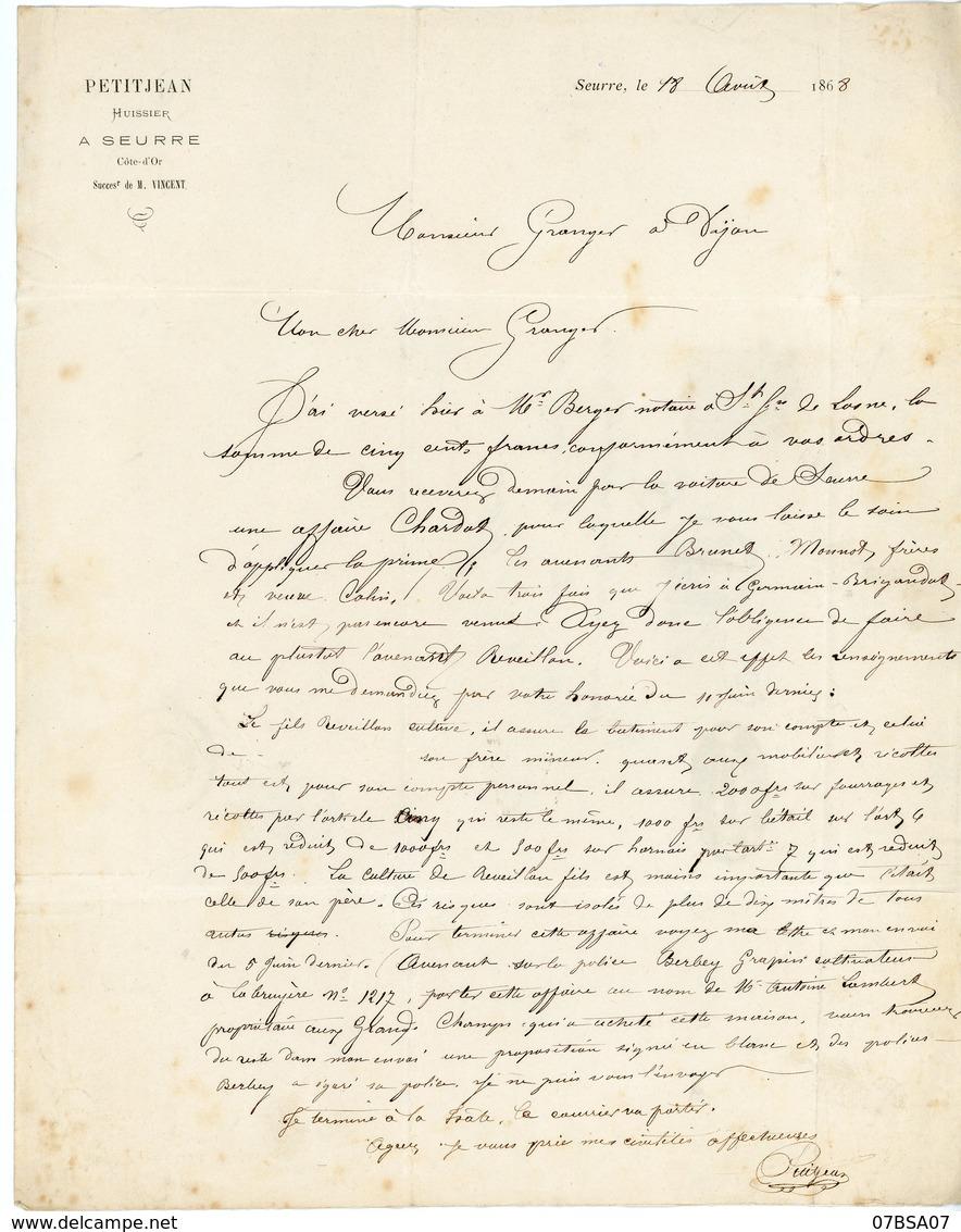 COTE D'OR LAC 1868 AMBULANT LYON A PARIS + BM BOITE MOBILE = LETTRE DE SEURRE COTE D'OR . V° BUREAU PASSE 1307 DIJON - Storia Postale
