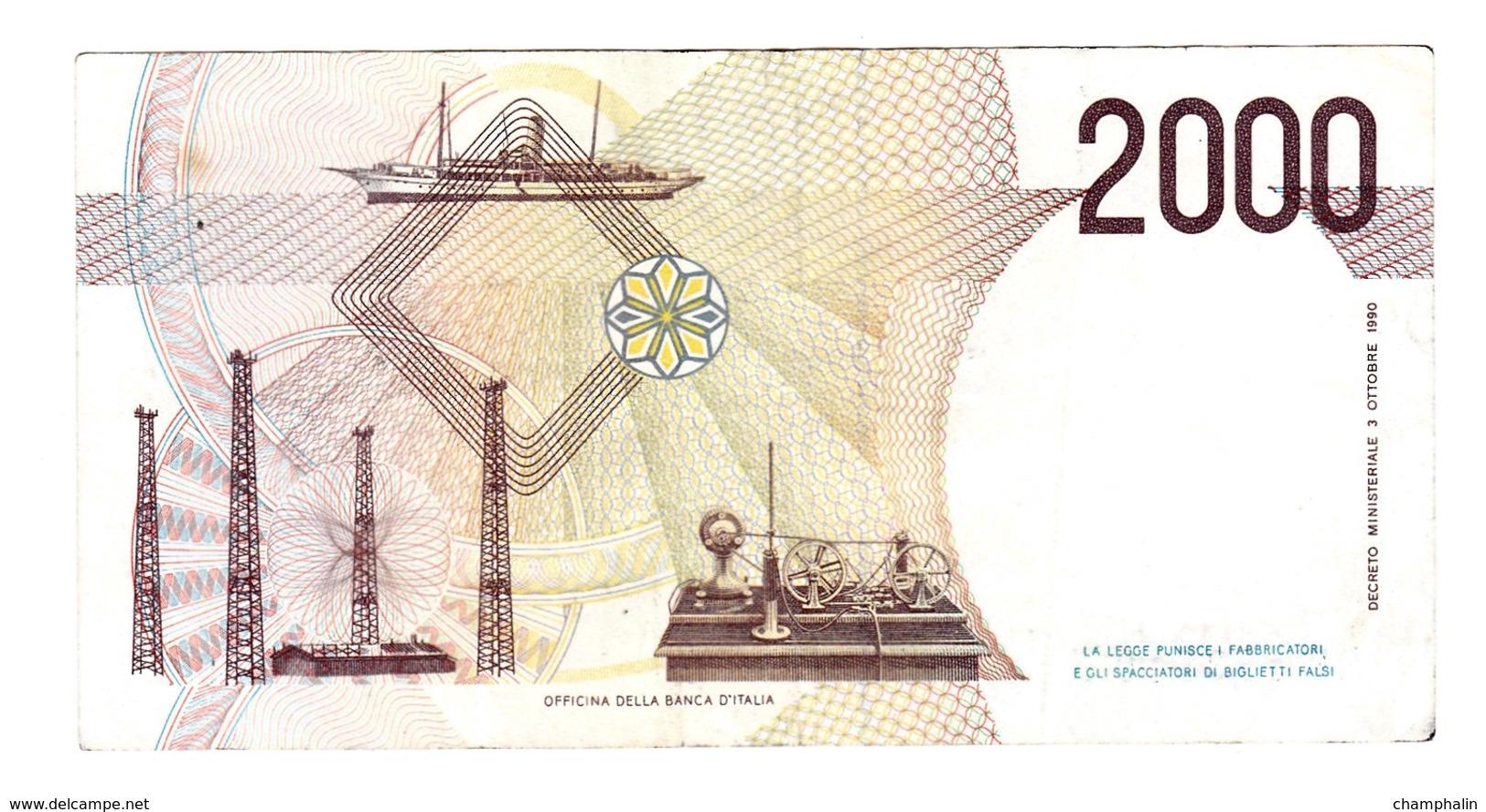 Italie - Billet De 2000 Lire - G. Marconi - 3 Octobre 1990 - [ 2] 1946-… : République