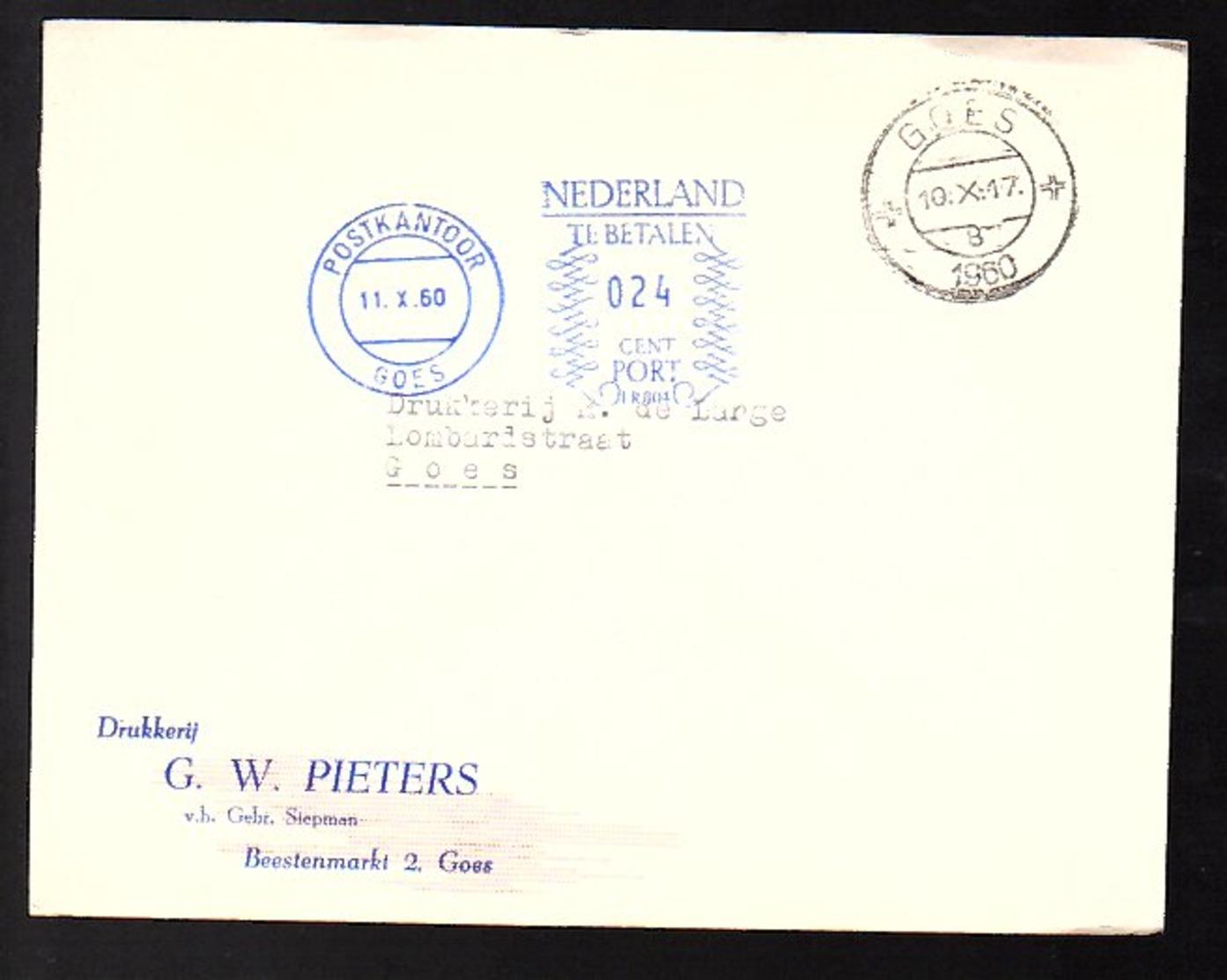 1960 Postage Due Drukkerij G.W. Pieters Stepman Beestenmarkt Goes > Lombardstraat Goes (EV-50) - Postage Due