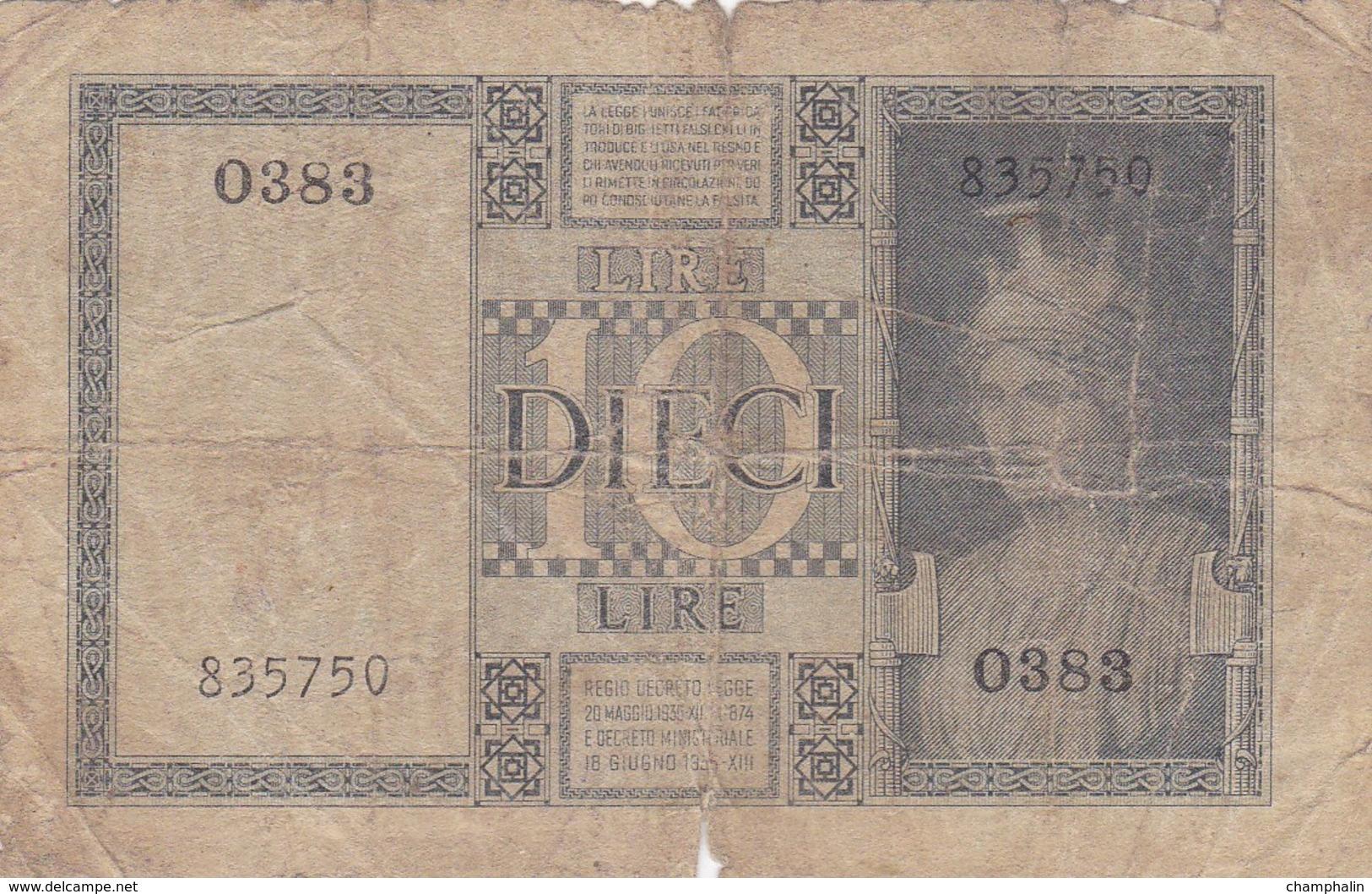 Italie - Billet De 10 Lire - Vittorio-Emanuele III - 20 Mai 1935 - [ 1] …-1946 : Kingdom