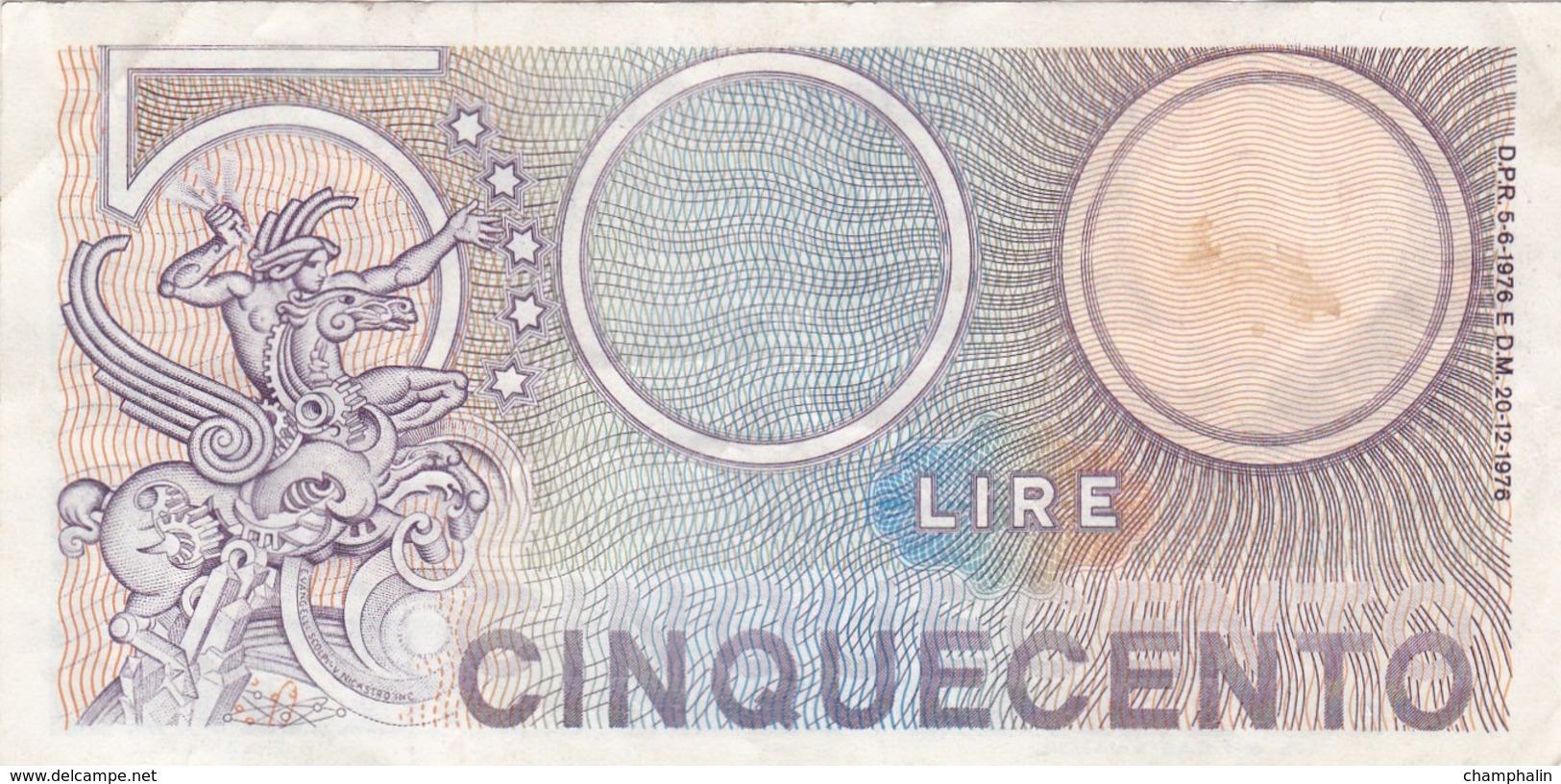 Italie - Billet De 500 Lire - 20 Décembre 1976 - 500 Lire