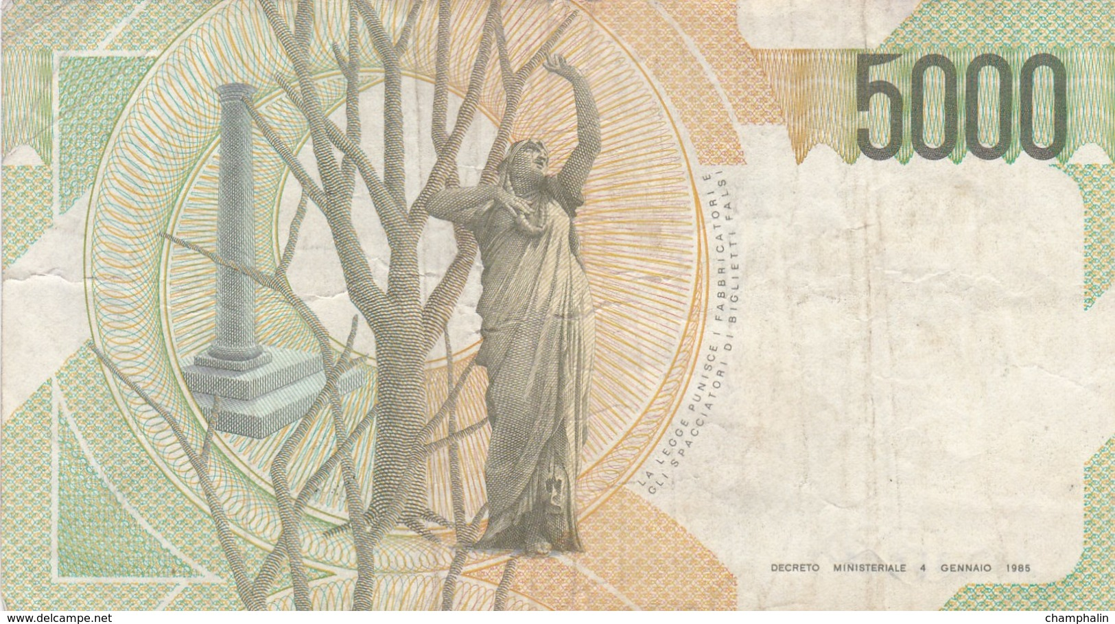Italie - Billet De 5000 Lire - Vincenzo Bellini - 4 Juin 1985 - [ 2] 1946-… : Repubblica