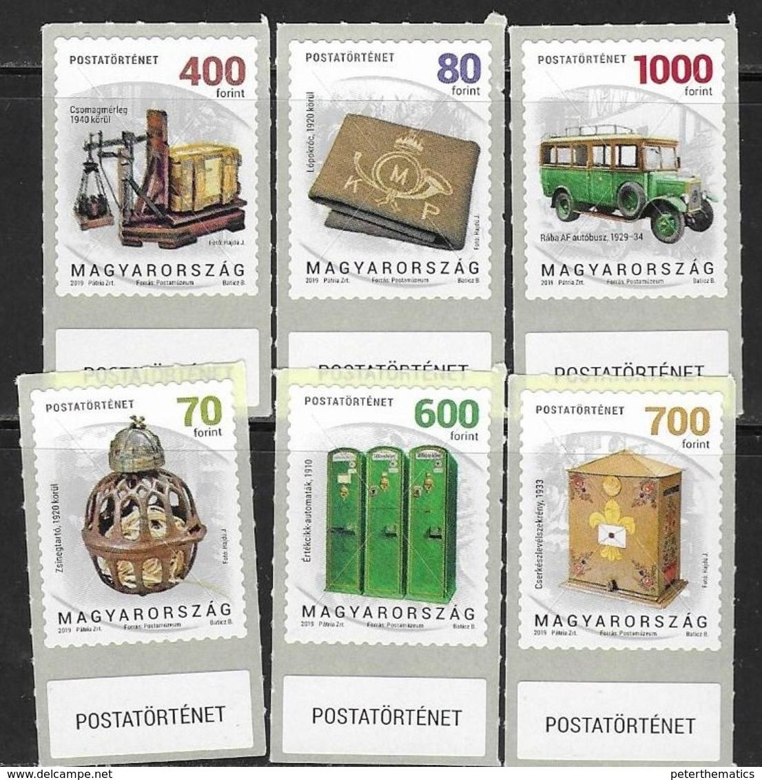 HUNGARY, 2019, MNH,POSTAL HISTORY, VEHICLES, PART III, 6v - Posta