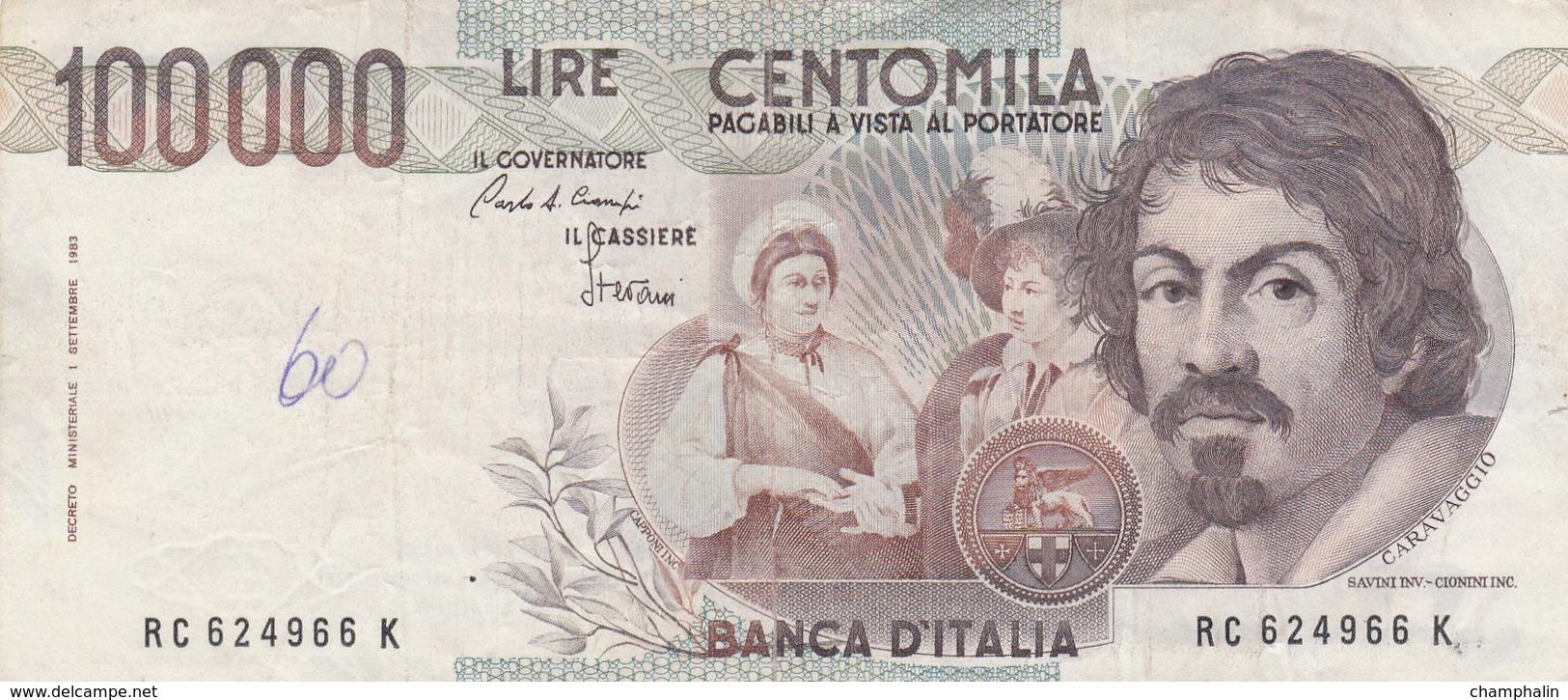 Italie - Billet De 100000 Lire - Caravaggio - 1er Septembre 1983 - [ 2] 1946-… : Républic