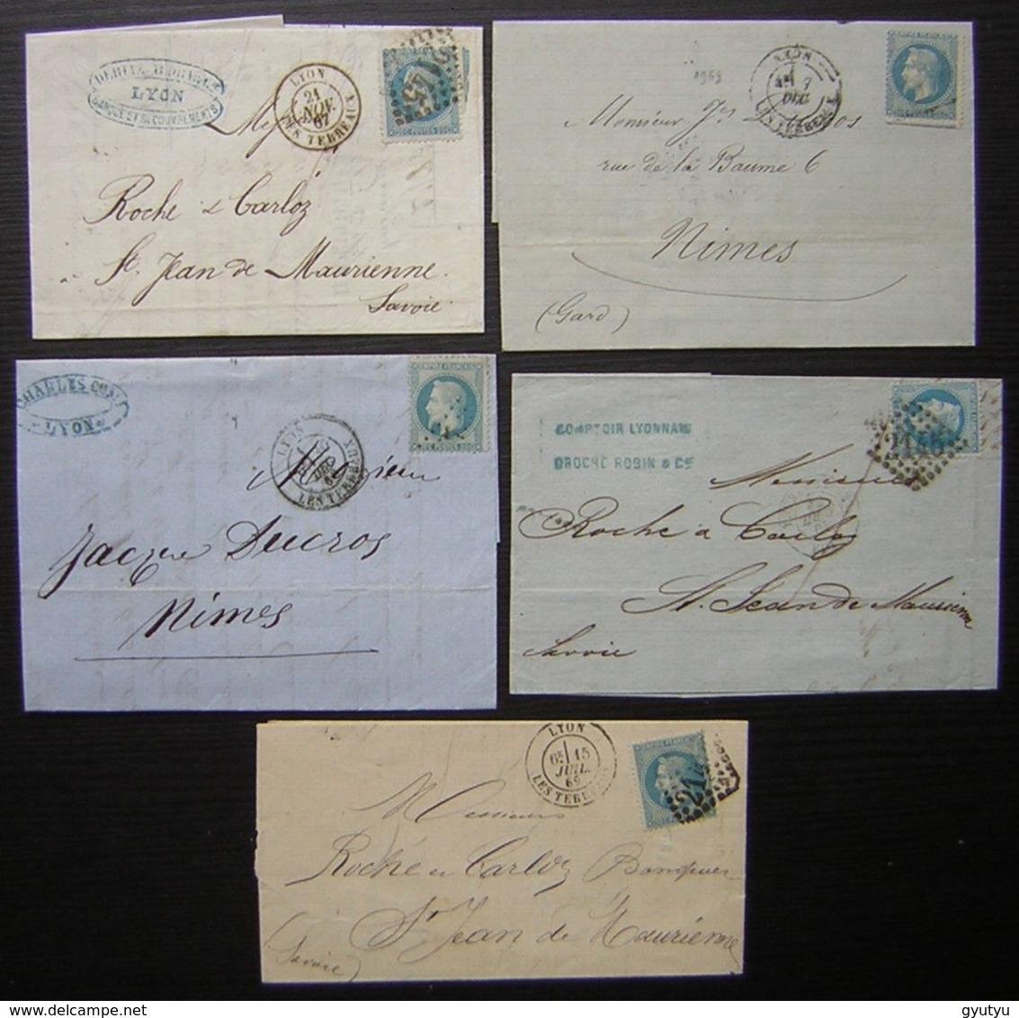 Lyon, Lot De 5 Lettres Classiques Napoléon - 1849-1876: Période Classique