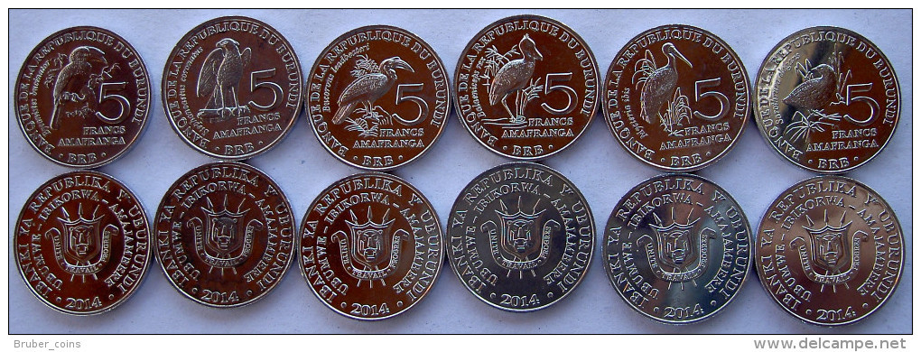 BURUNDI 2014 SERIE 6 MONETE DA 5 FRANCHI UCCELLI BIRD FDC UNC - Burundi