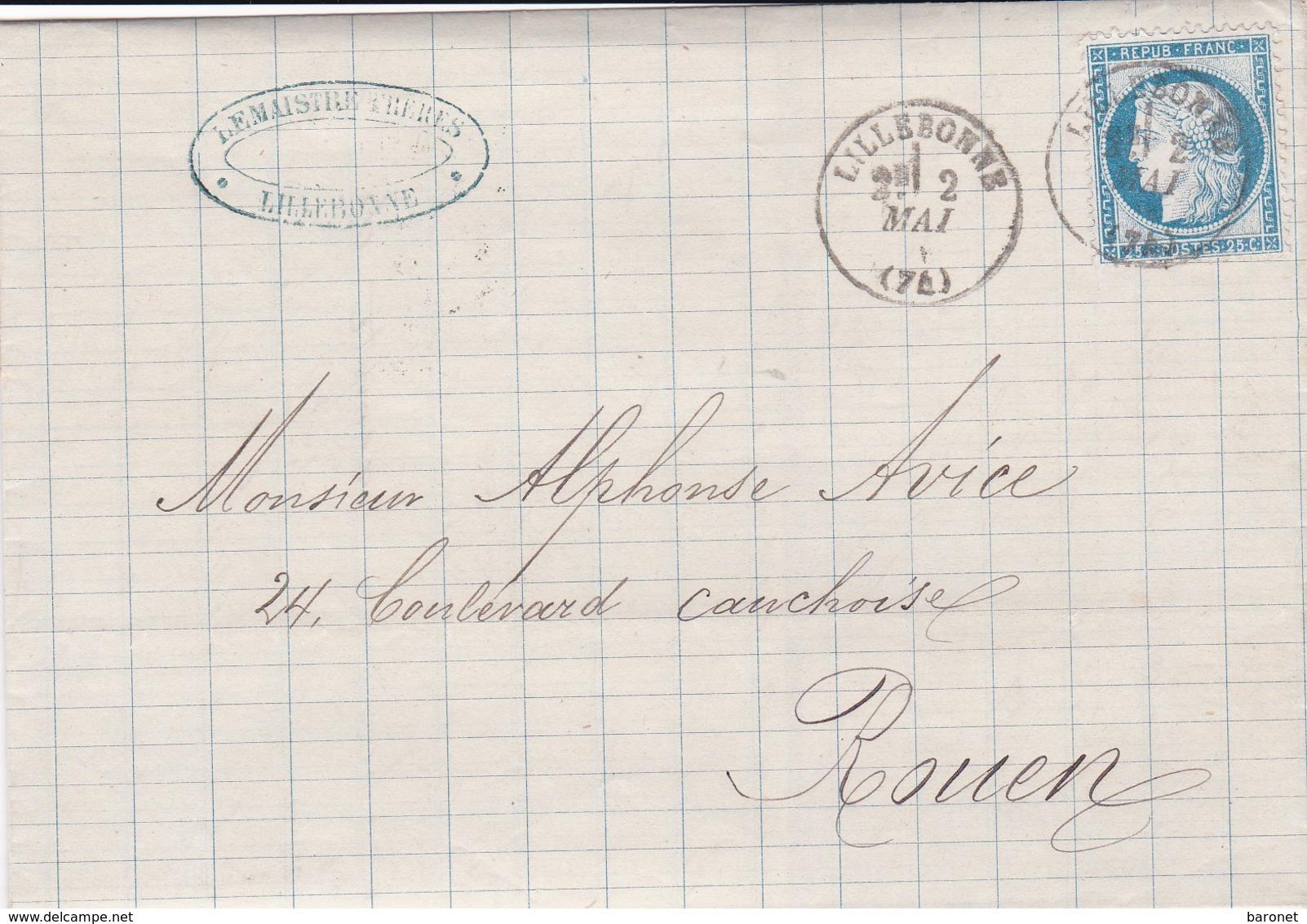 N° 60  S / L Avec Texte T.P. Ob T 16 Lillebonne 2 Mai 76 - Postmark Collection (Covers)