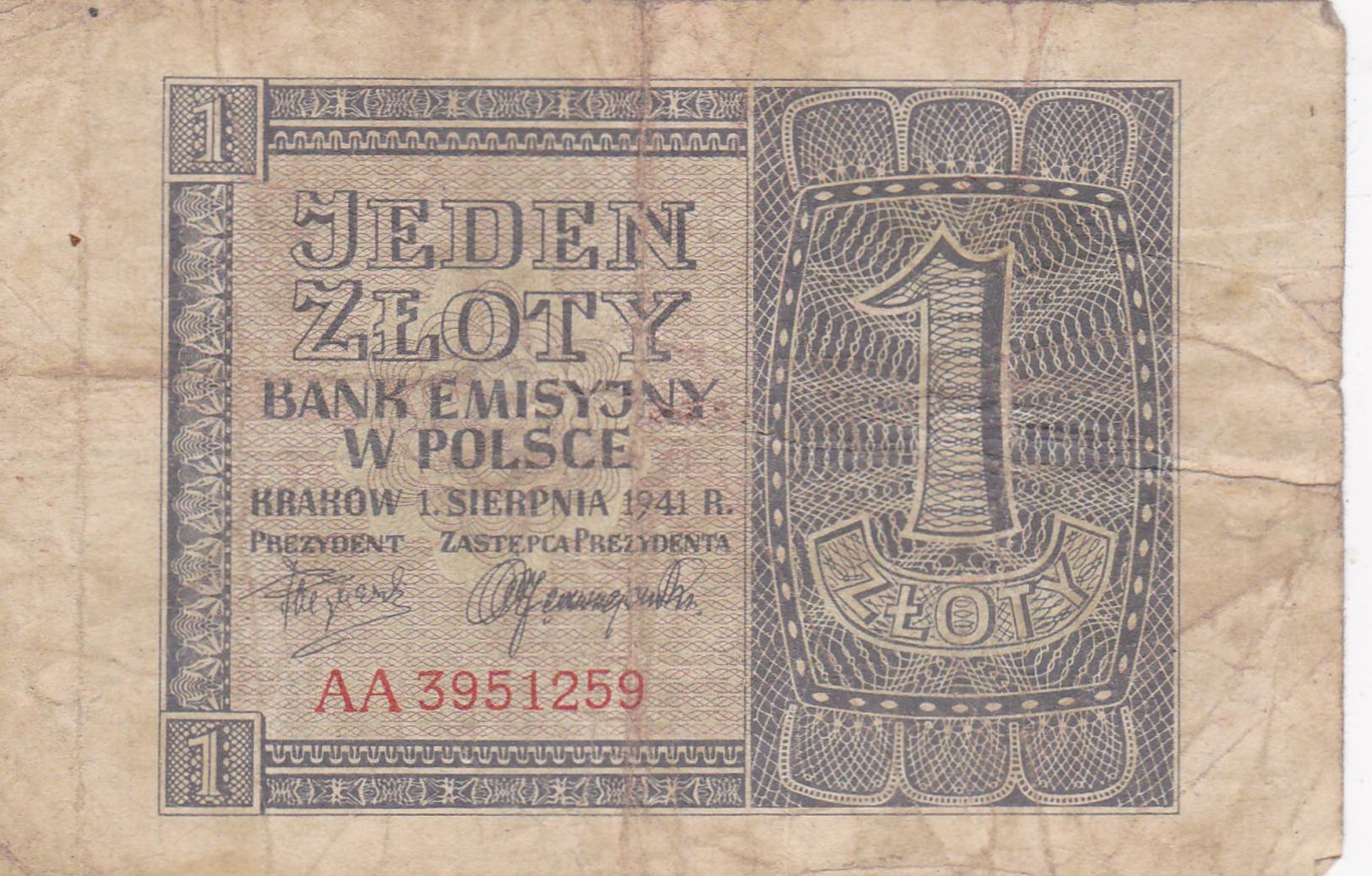 Billet 1 Sloty Pologne. - Poland