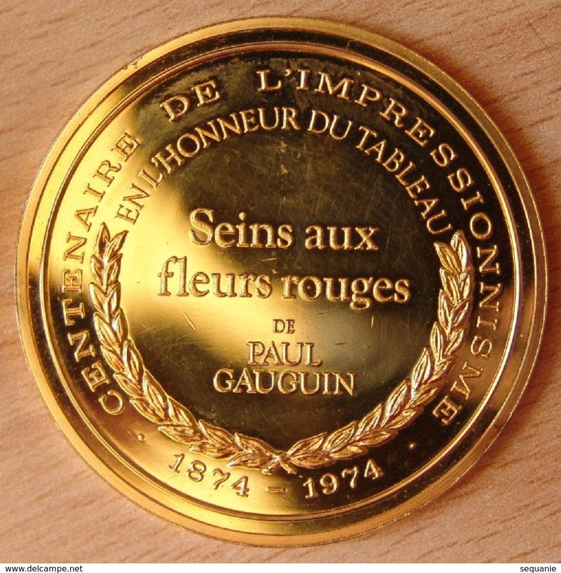 Médaille Seins Au Fleurs Rouges De Paul Gaugin Vermeil 1874-1974 - Professionnels / De Société