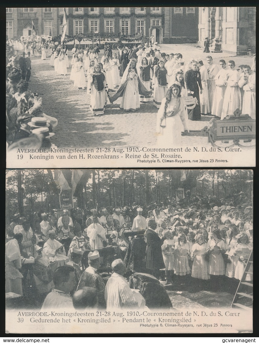 AVERBODE  2 KAARTEN KRONINGSFEESTEN 21_28 AUG 1910 - Scherpenheuvel-Zichem