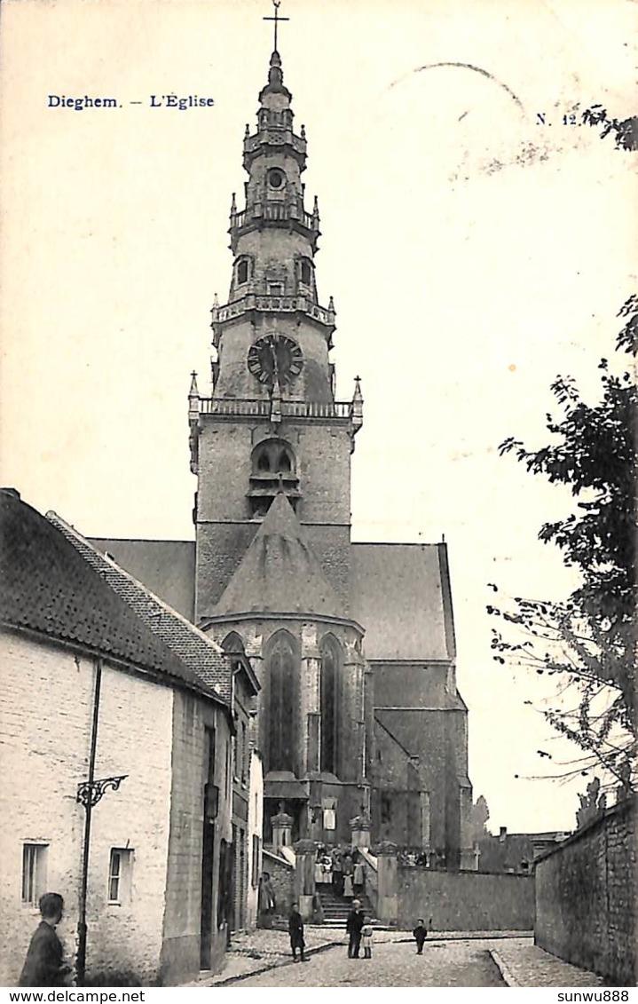 Dieghem - L'Eglise (animée 1907) - Diegem