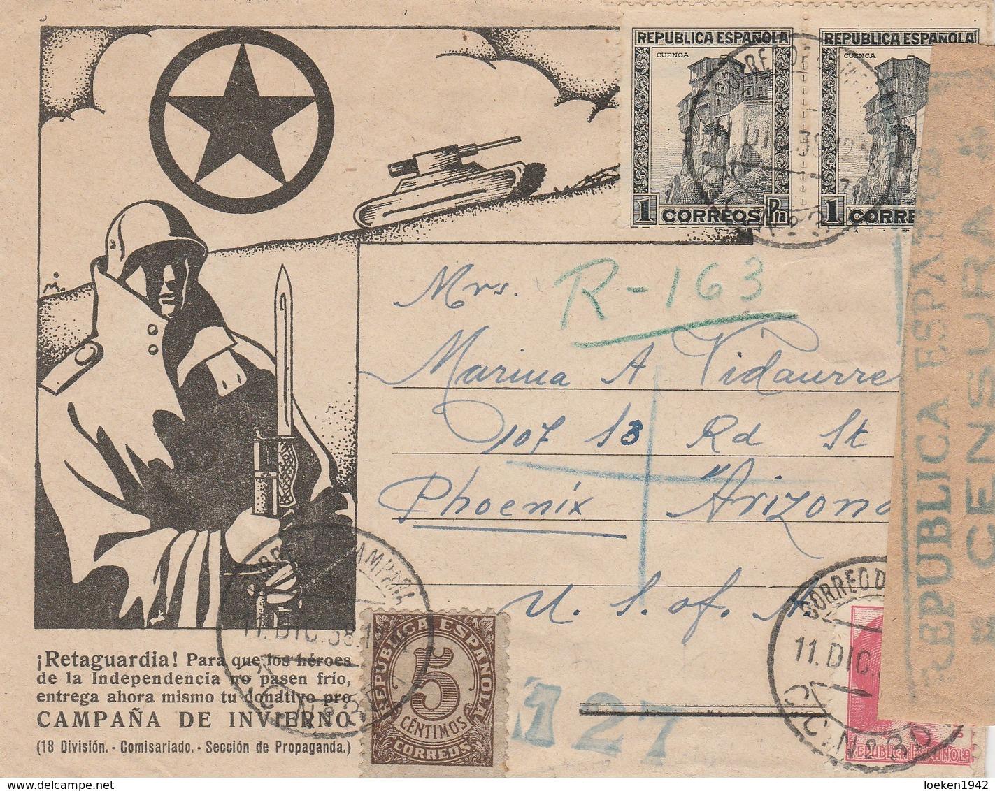 1938 RARA SOBRE PROPAGANDA  RETAGUARDIA  CORREO CAMPAÑA  Hasta ARIZONA ELA 122 - 1931-Today: 2nd Rep - ... Juan Carlos I