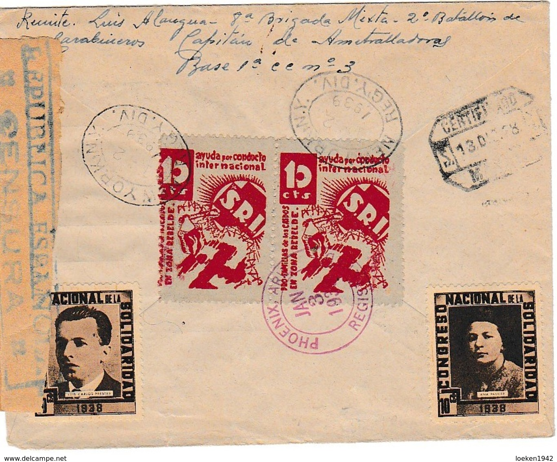 1938 RARA SOBRE PROPAGANDA  RETAGUARDIA  CORREO CAMPAÑA  Hasta ARIZONA ELA 122 - 1931-Hoy: 2ª República - ... Juan Carlos I