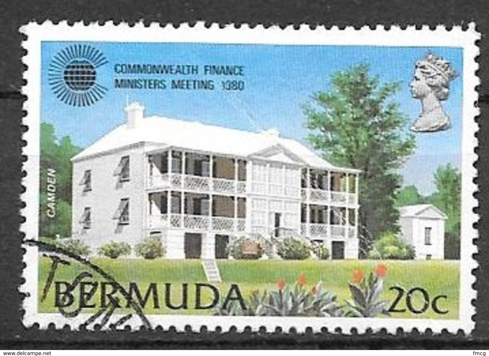 1980 20 Cents Prime Ministers House, Used - Bermuda