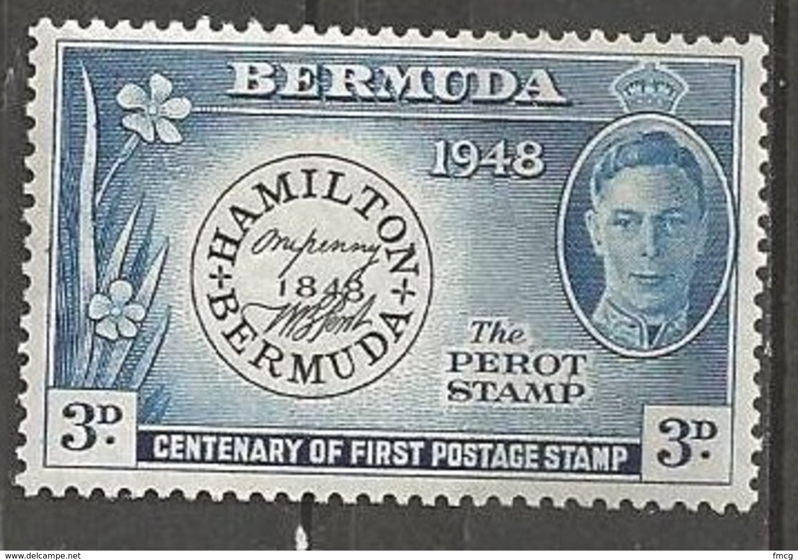 1948 First Stamp, 3d, Mint Light Hinged - Bermuda