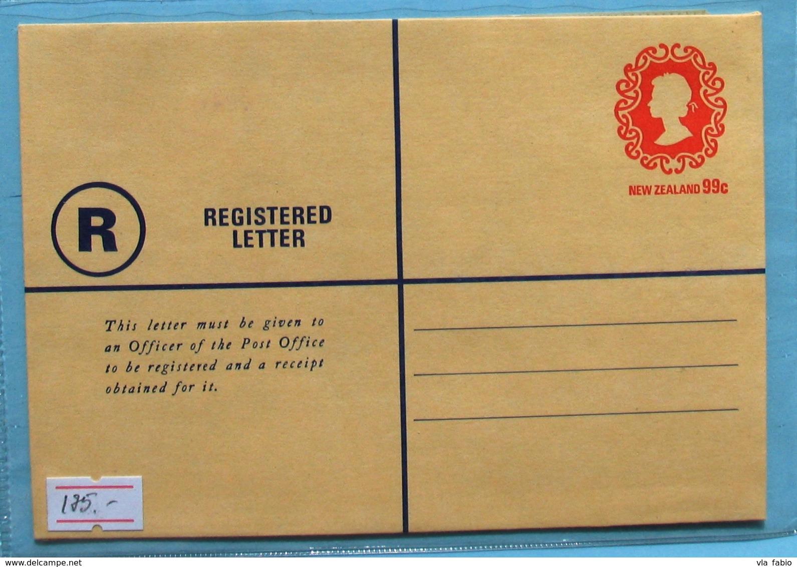 New Zealand Q E II Registered Cover 99 C - Postal Stationery