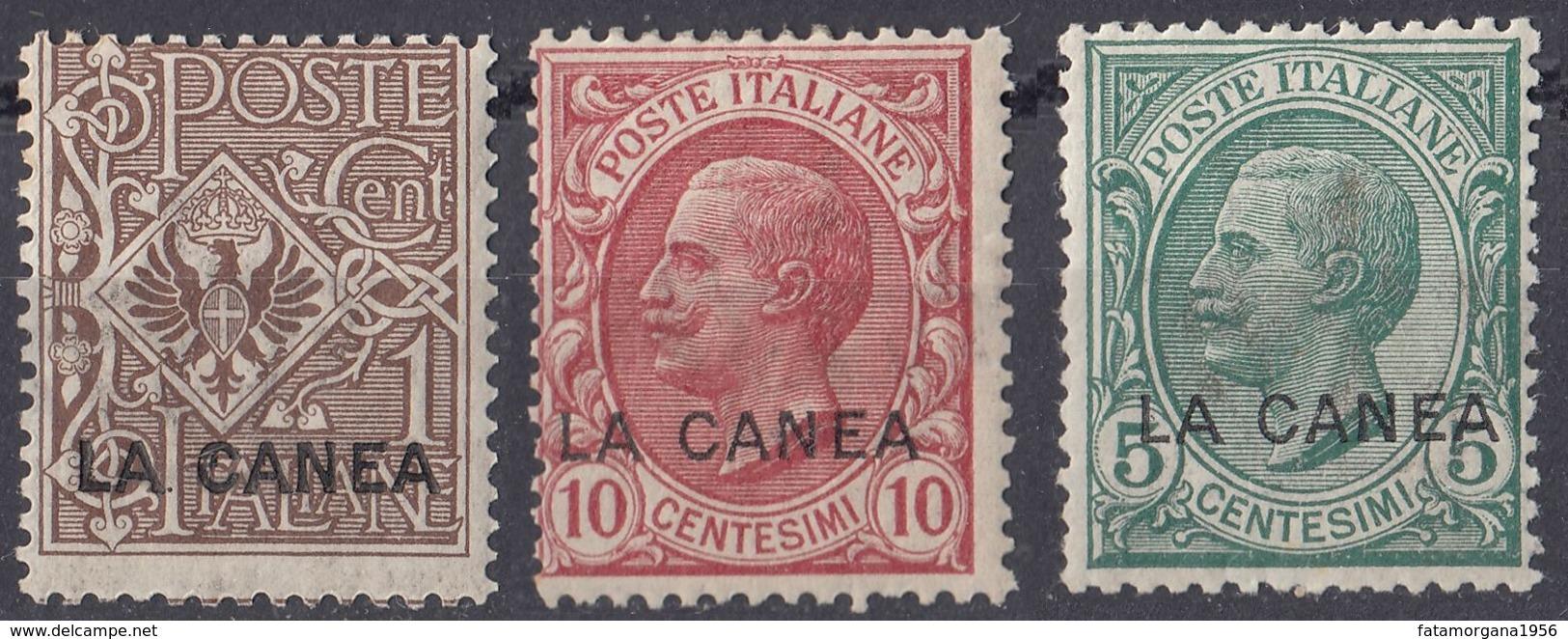 ITALIA - LA CANEA - 1907/1912 - Lotto Di 3 Valori Nuovi MH: Unificato 1, 14 E 15. - La Canea