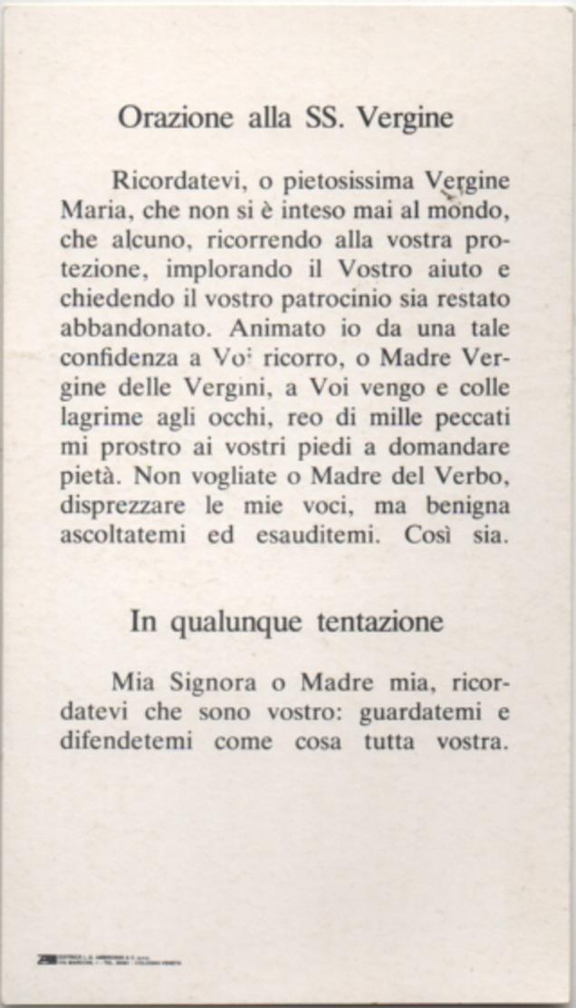 Santino Con L'effigie Della Madonna Che Si Venera Nel Santuario Di San Felice A Cologna Veneta (Verona) - Devotion Images