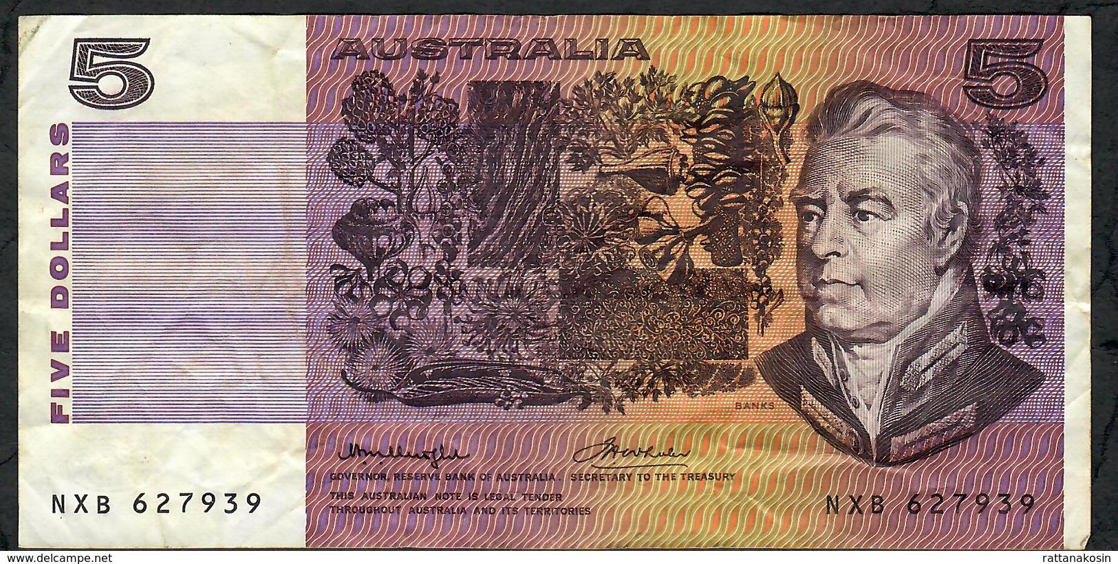 AUSTRALIA P44b 5 Dollars 1974 VF - Government Bank Issues 1910