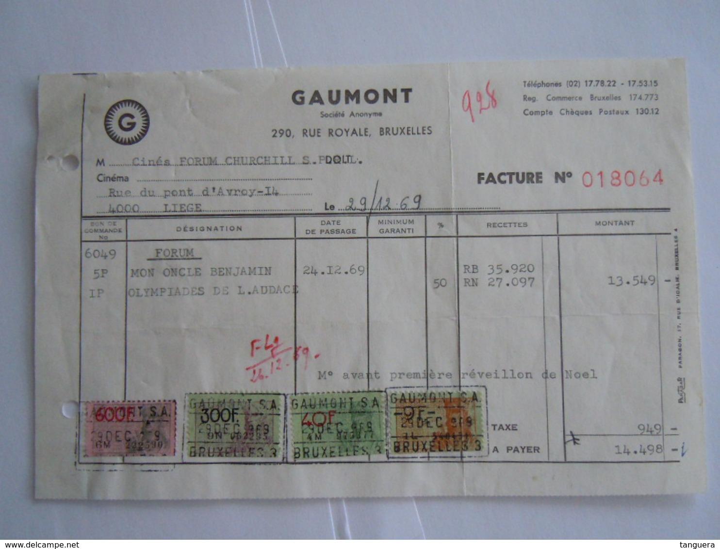 1969 Gaumont Bruxelles Films Facture Cinés Forum Churchill Liège Taxe 949 Fr - Belgien