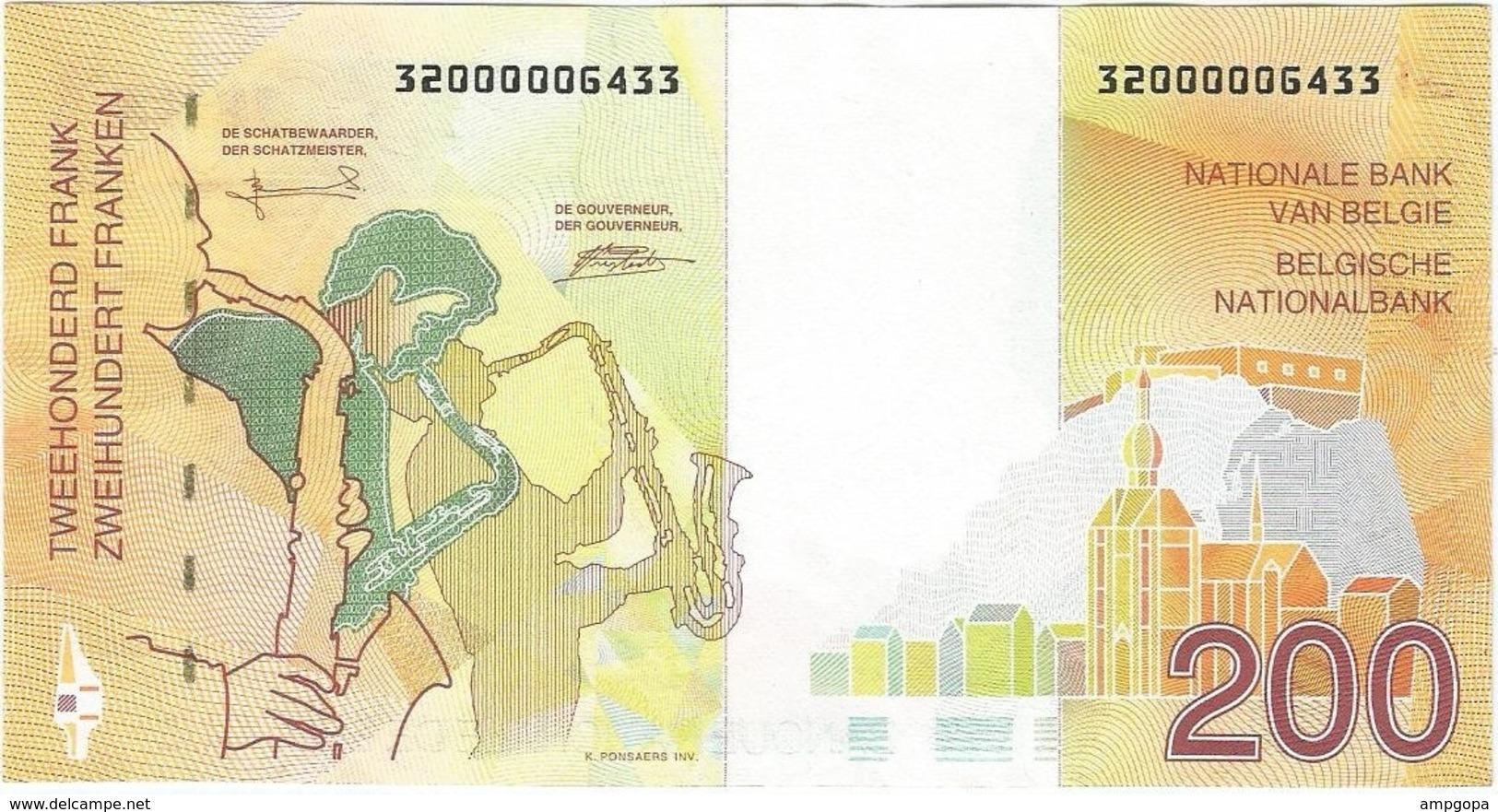 Bélgica - Belgium 200 Francs 1995 Pk 148 Firmas Bertholomé Y Verplaetse Ref 3445-1 - Otros