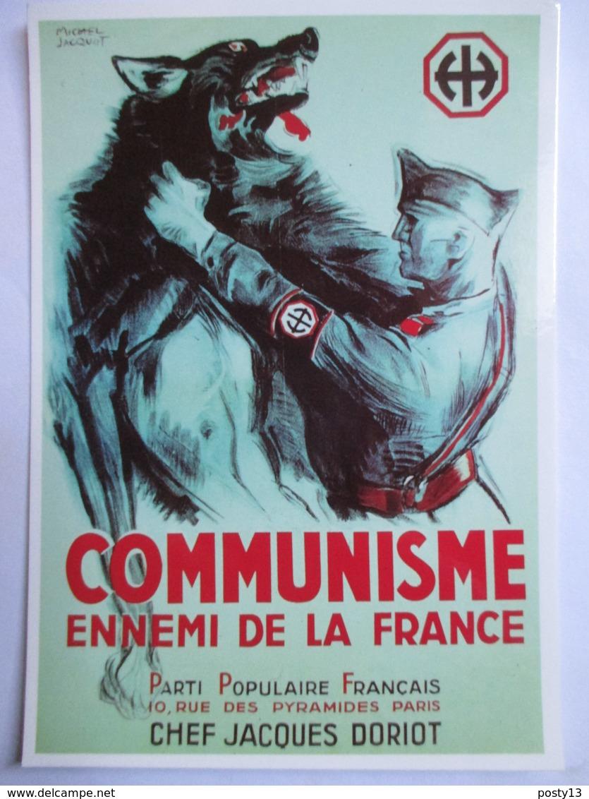 CPM  Reproduction Affiche De Propagande Du Régime De Vichy  - Communisme Ennemi De La France - Parti Populaire Français - Guerre 1939-45