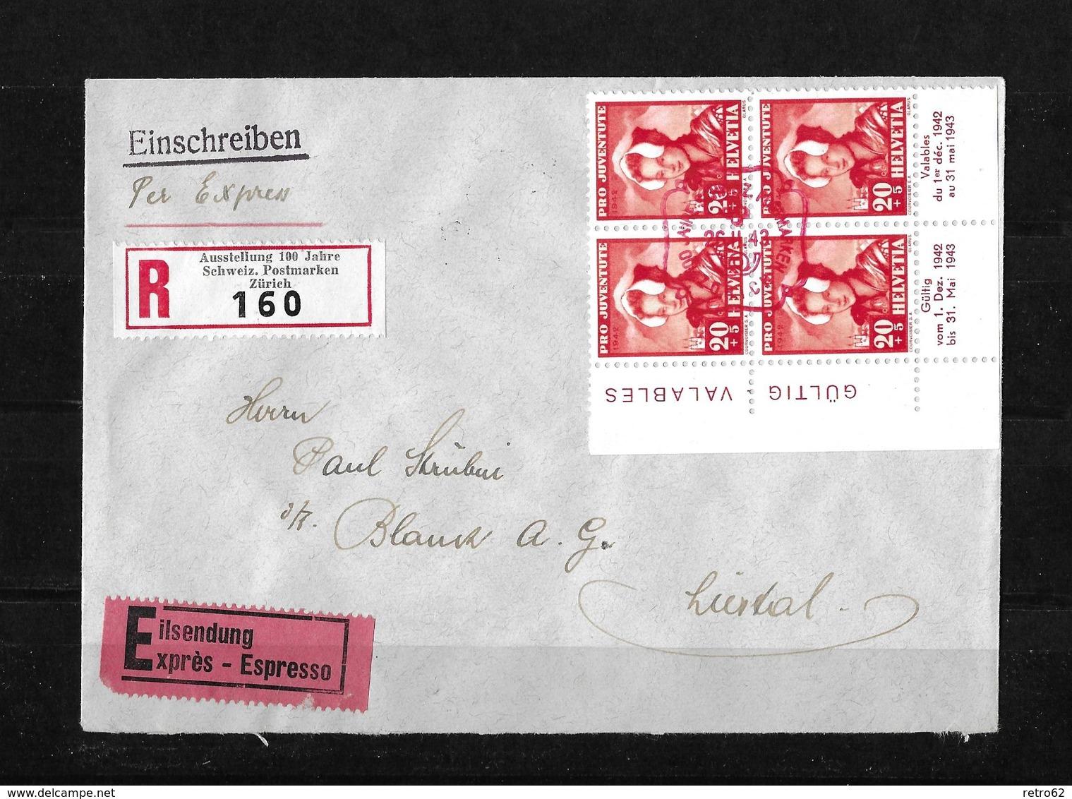 HEIMAT ZÜRICH → Einschreibe-Express-Brief (Ausst.100 Jahre Schw.Briefmarken)  ►SBK-J103 Im Viererblock◄ - Lettres & Documents