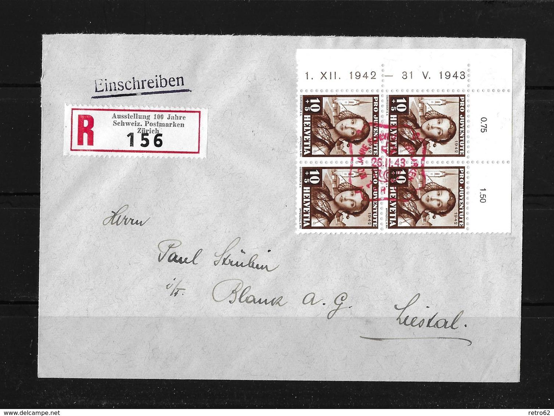 HEIMAT ZÜRICH → Einschreibe-Brief (Ausst.100 Jahre Schw.Briefmarken)  ►SBK-J102 Im Viererblock◄ - Pro Juventute