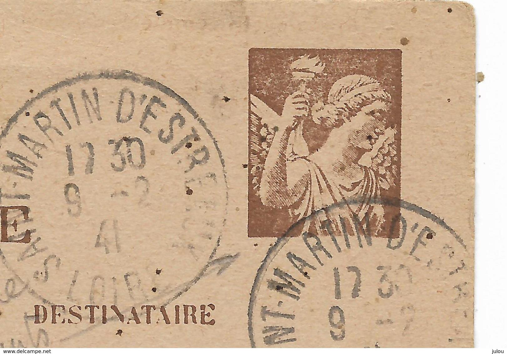 1941- VARIETE- Entier Postal Type IRIS Sans Valeur -signature Remplacée Par 2 Points-cachet ST MARTIN D'ESTREAUX  3scans - Entiers Postaux