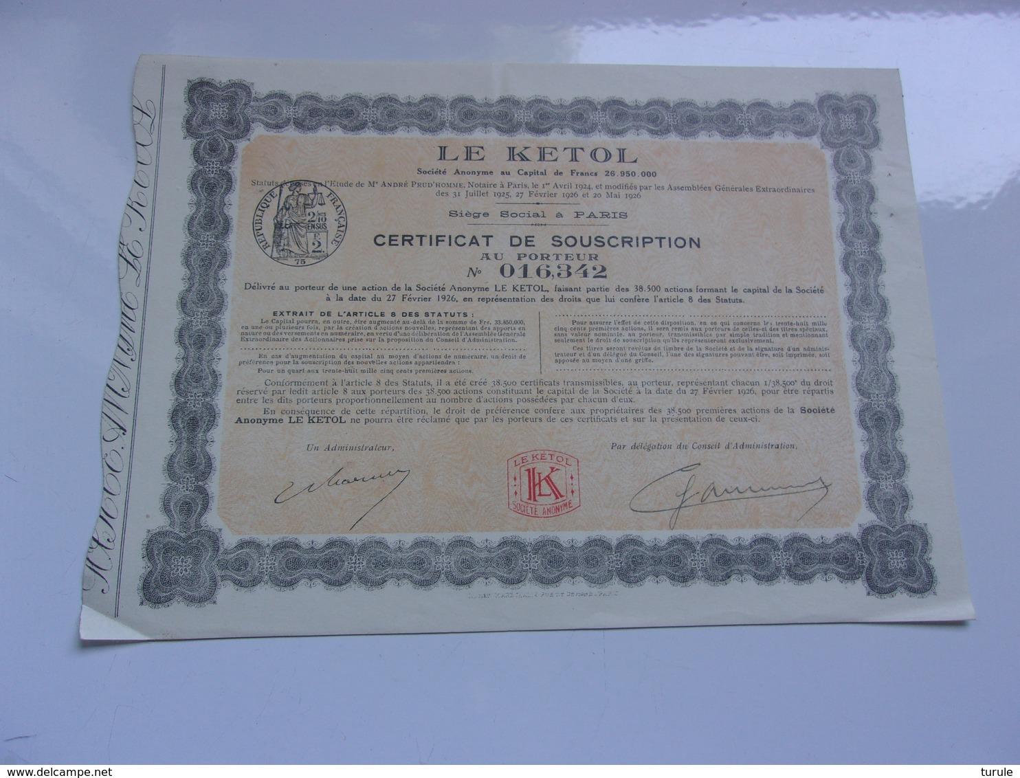 LE KETOL  (certificat De Souscription)  1926 - Acciones & Títulos