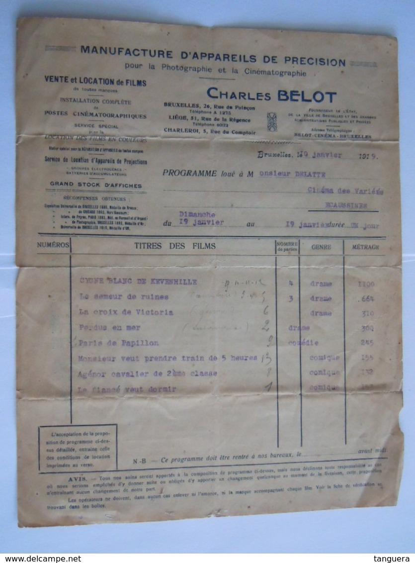 1919 Charles Belot Bruxelles Location De Films Facture Cinema Des Varietés Ecaussines - Bélgica