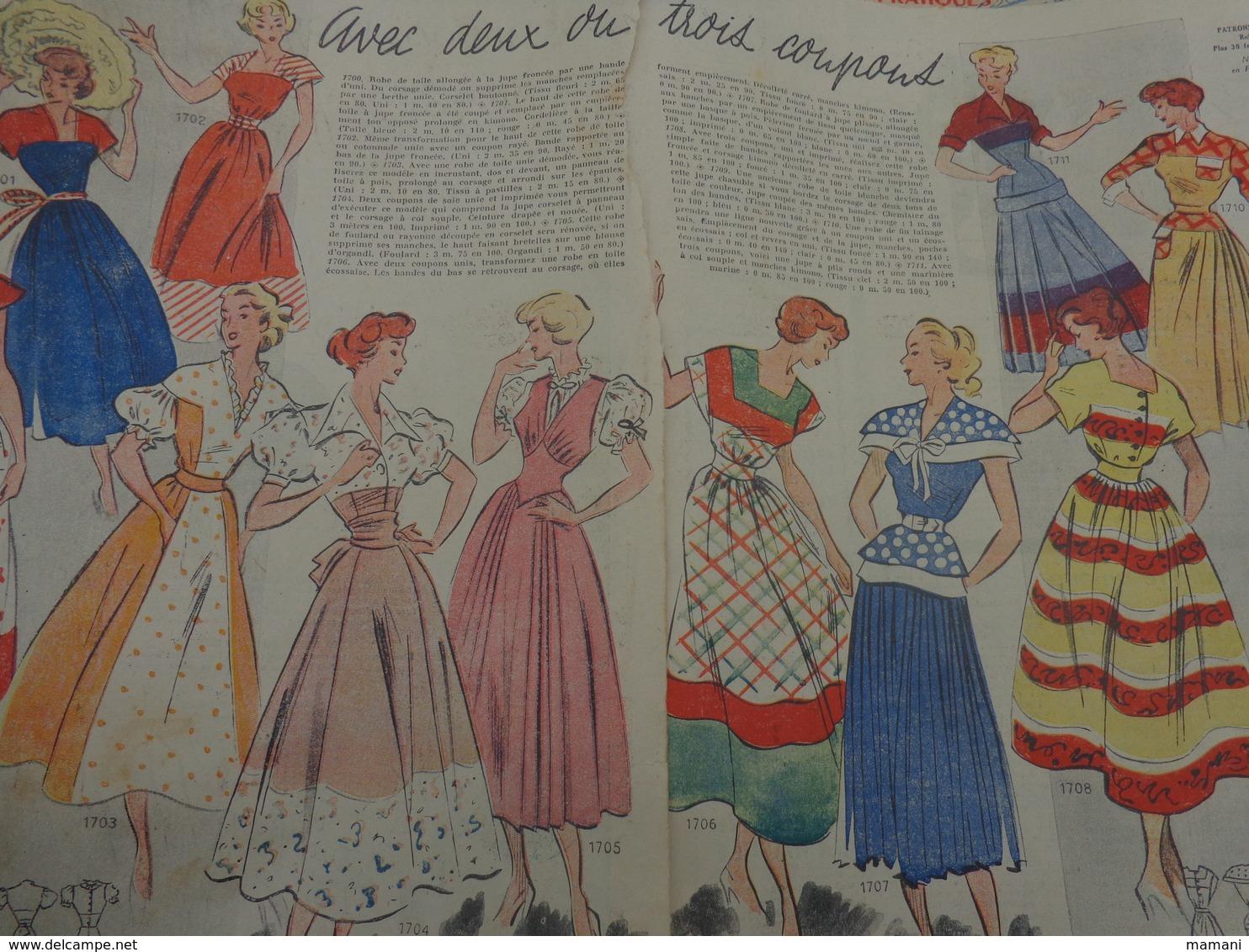+ 700g De Feuilles Tirees Dans Des Revues-mode-monogrammes-couture- Bavoir-tricotage Etc...des Annees 50 - Creative Hobbies