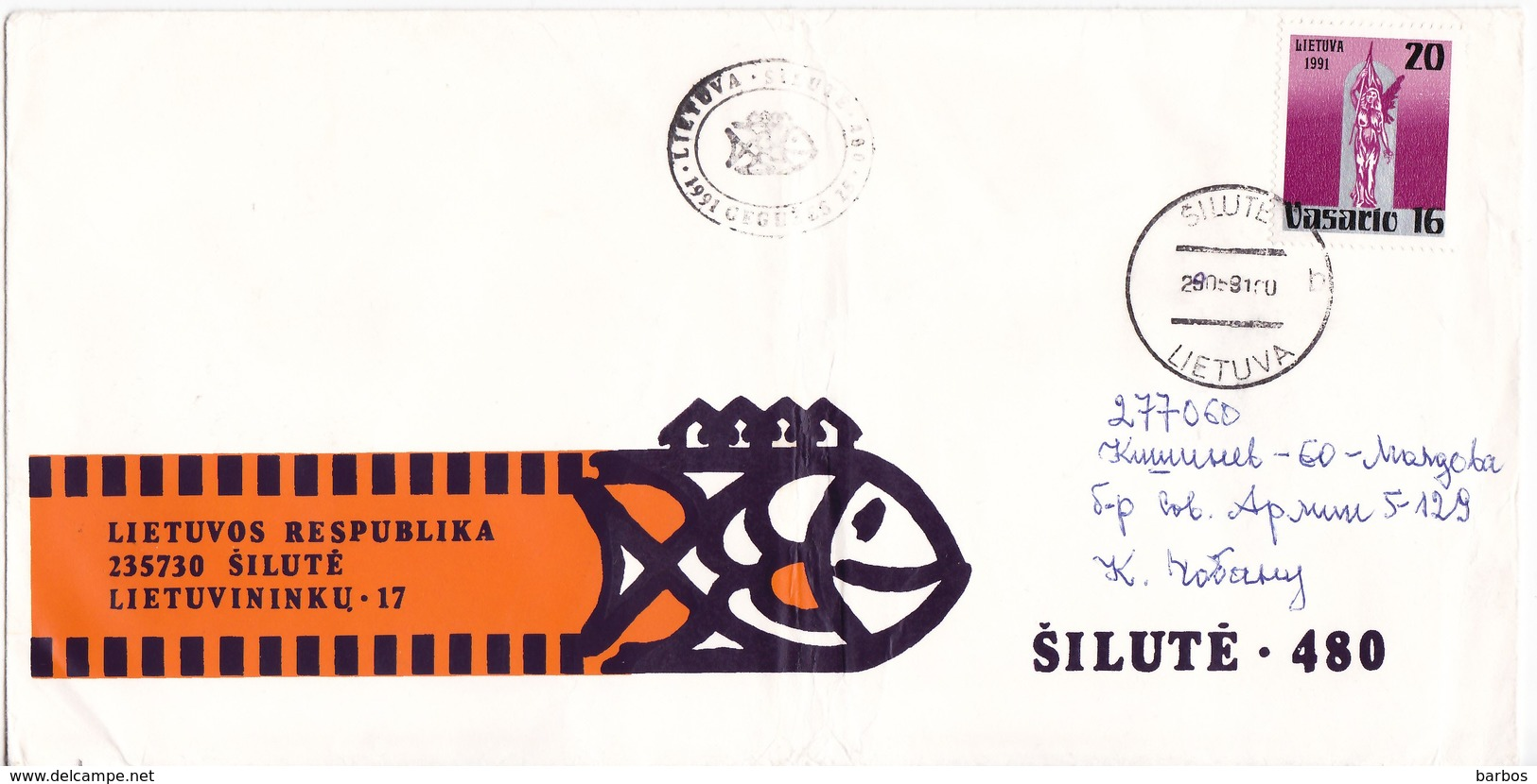 Lithuania  To Moldova , 1991 ,  Used Cover - Lithuania
