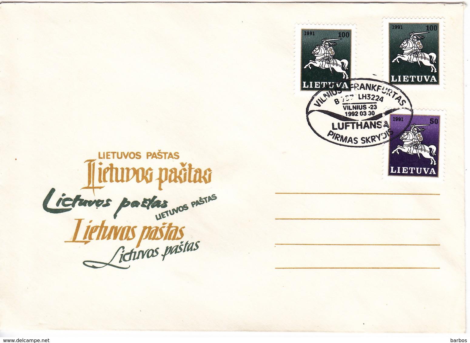 Lituanie   Lietuva 1992 , Vilnius - Frankfurt Lufthansa  , Special Cancell - Lithuania