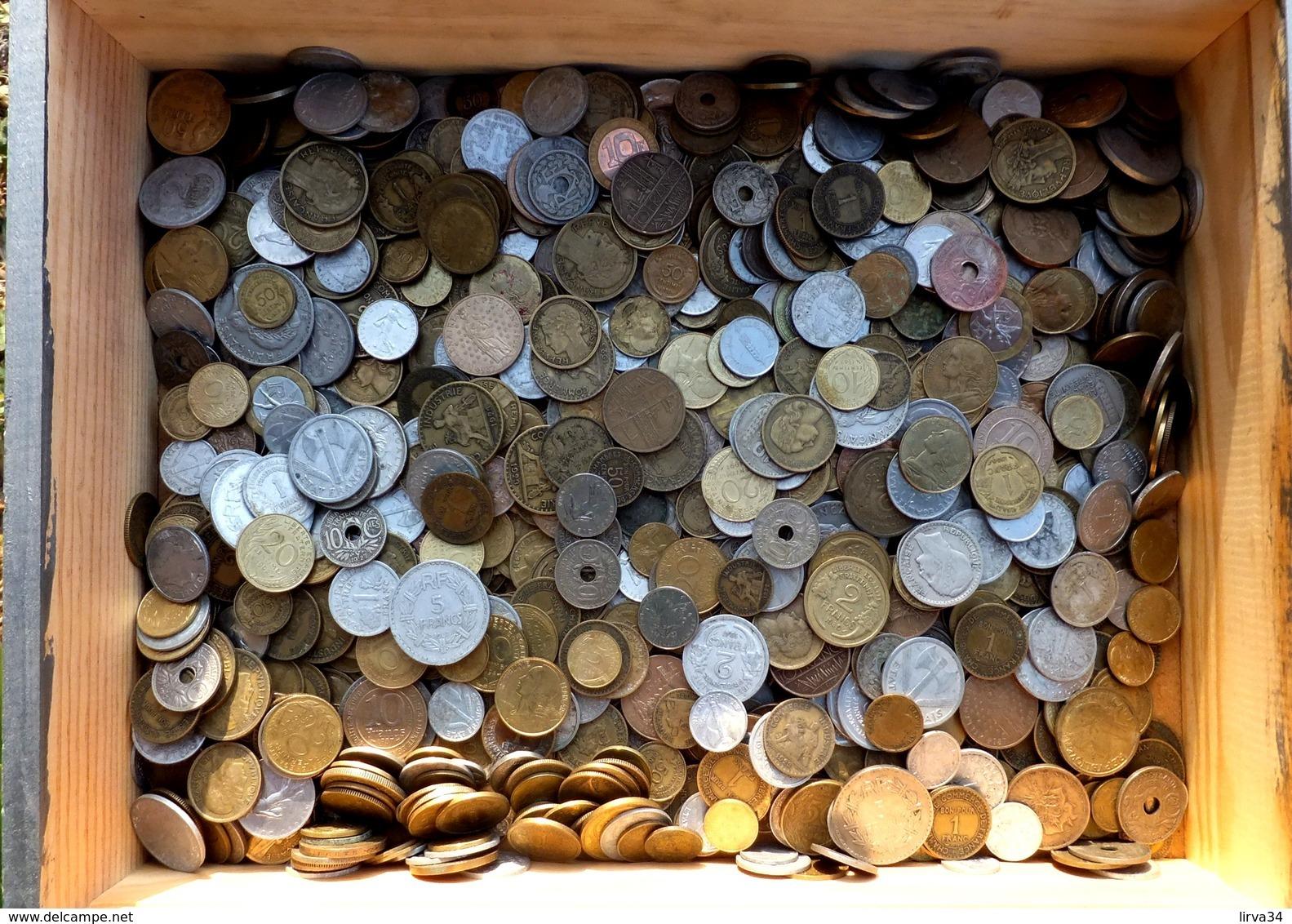 SÉLECTION MONNAIES DE FRANCE EN VRAC- 1,5 KG. -EPOQUES DIVERSES- 3 SCANS - Monedas & Billetes
