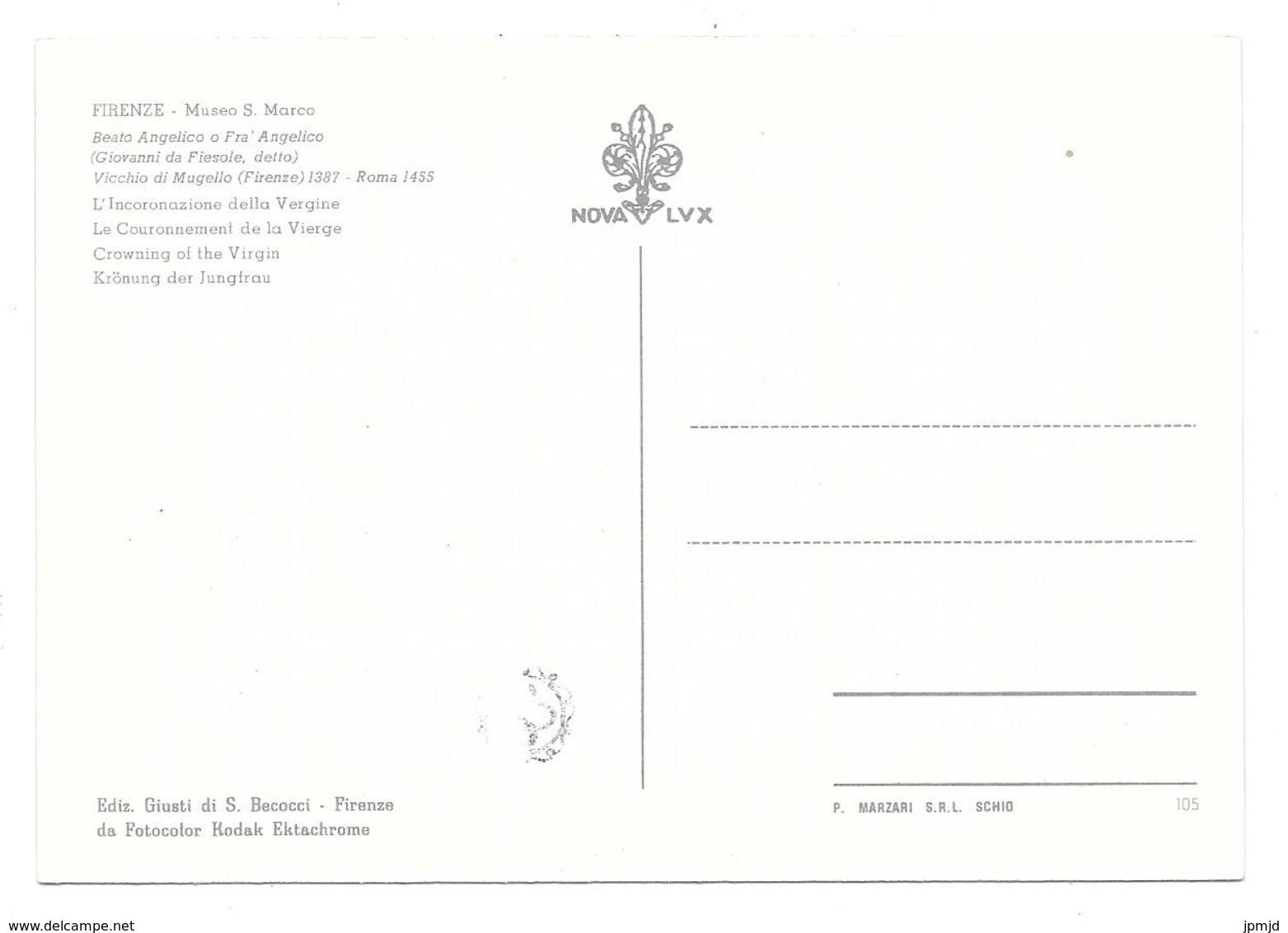 FIRENZE - Museo S. Marco Beato Angelico O Fra Angelico - L'Incoronazione Della Vergine - Ed. Giusti Di S. Becocci N° 105 - Firenze (Florence)