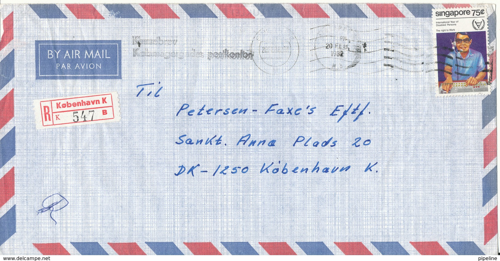 Singapore Registered Air Mail Cover Sent To Denmark From M/T Ulfsborg Dannebrog Rederi 20-2-1982 - Singapore (1959-...)