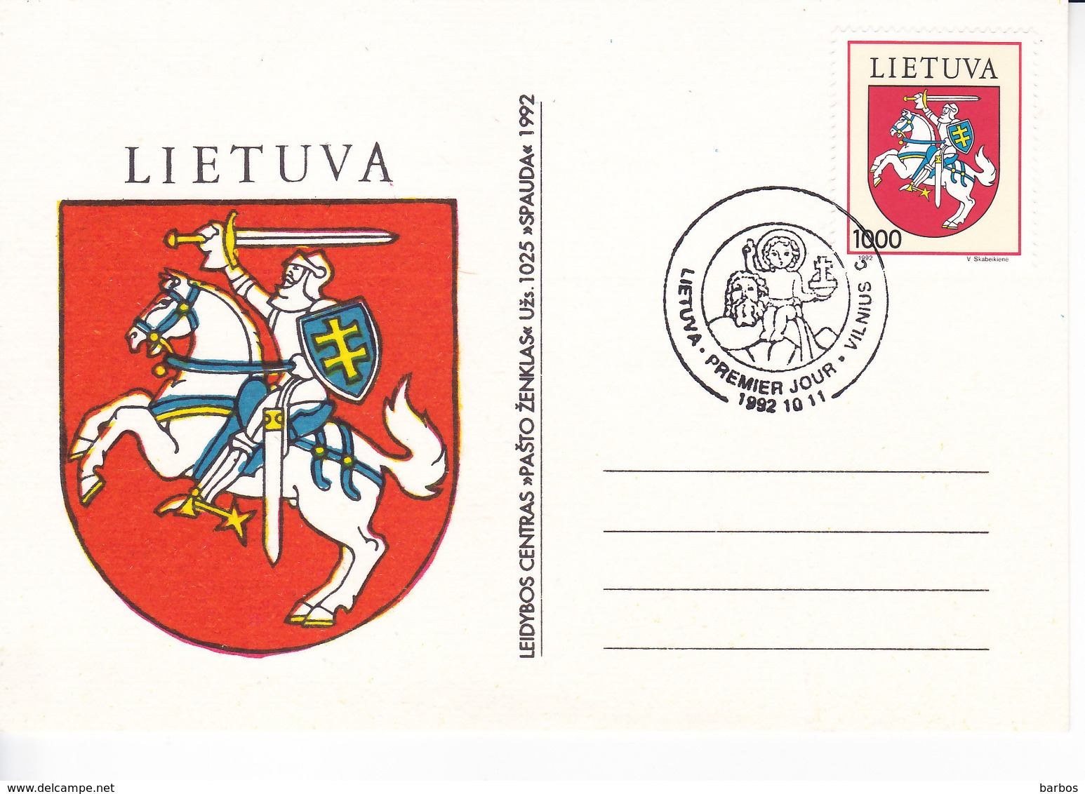 Lituanie   Lietuva 1992  Coat Of Arms , History , FDC - Lithuania