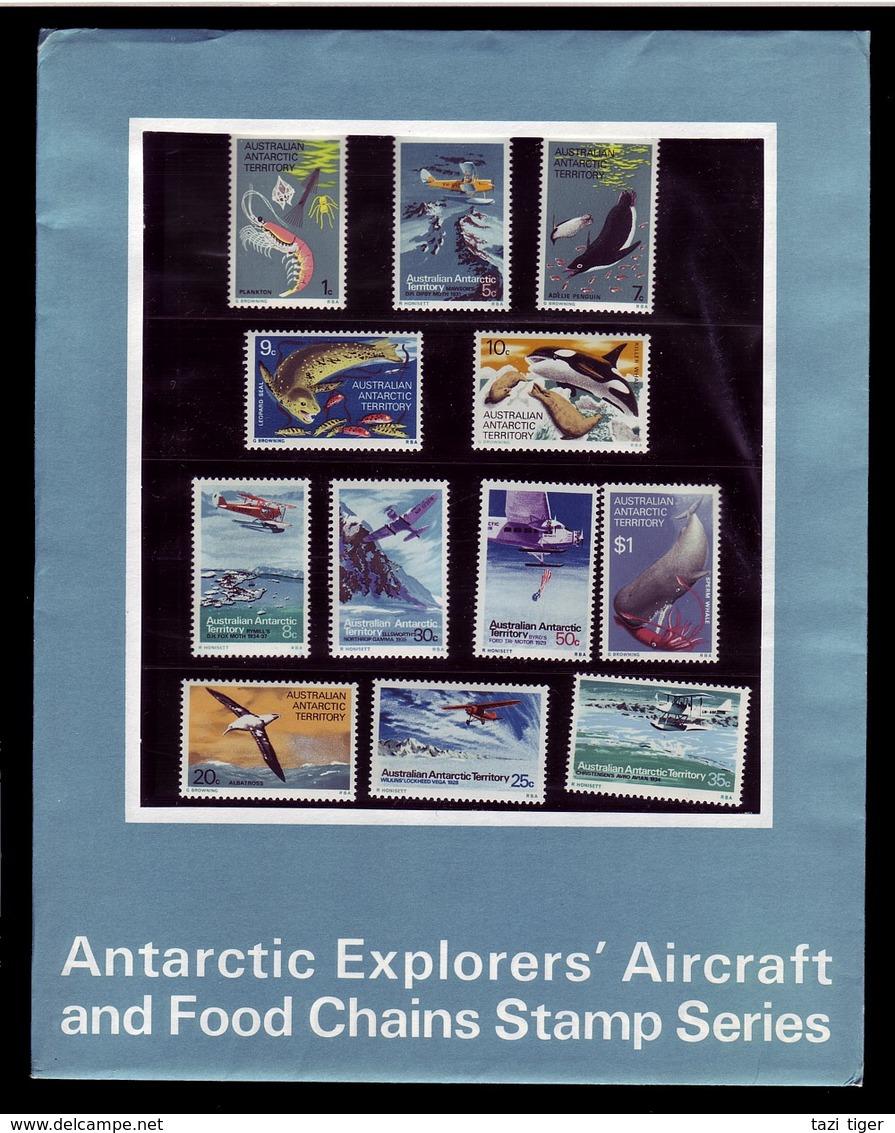 AUSTRALIAN ANTARCTIC TERRITORY (AAT) • 1973 • Antarctic Explorers' Aircraft & Food Chains - Presentation Pack • MNH (12) - Territoire Antarctique Australien (AAT)