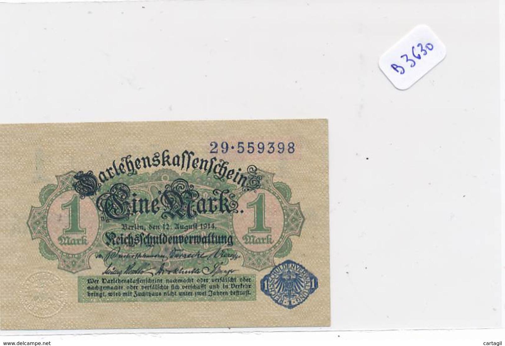 Numismatique -B3630 -Allemagne -1Mark Darlehnskassenshein 1914 ( Catégorie,  Nature état ... Scans)-Envoi Gratuit - Altri