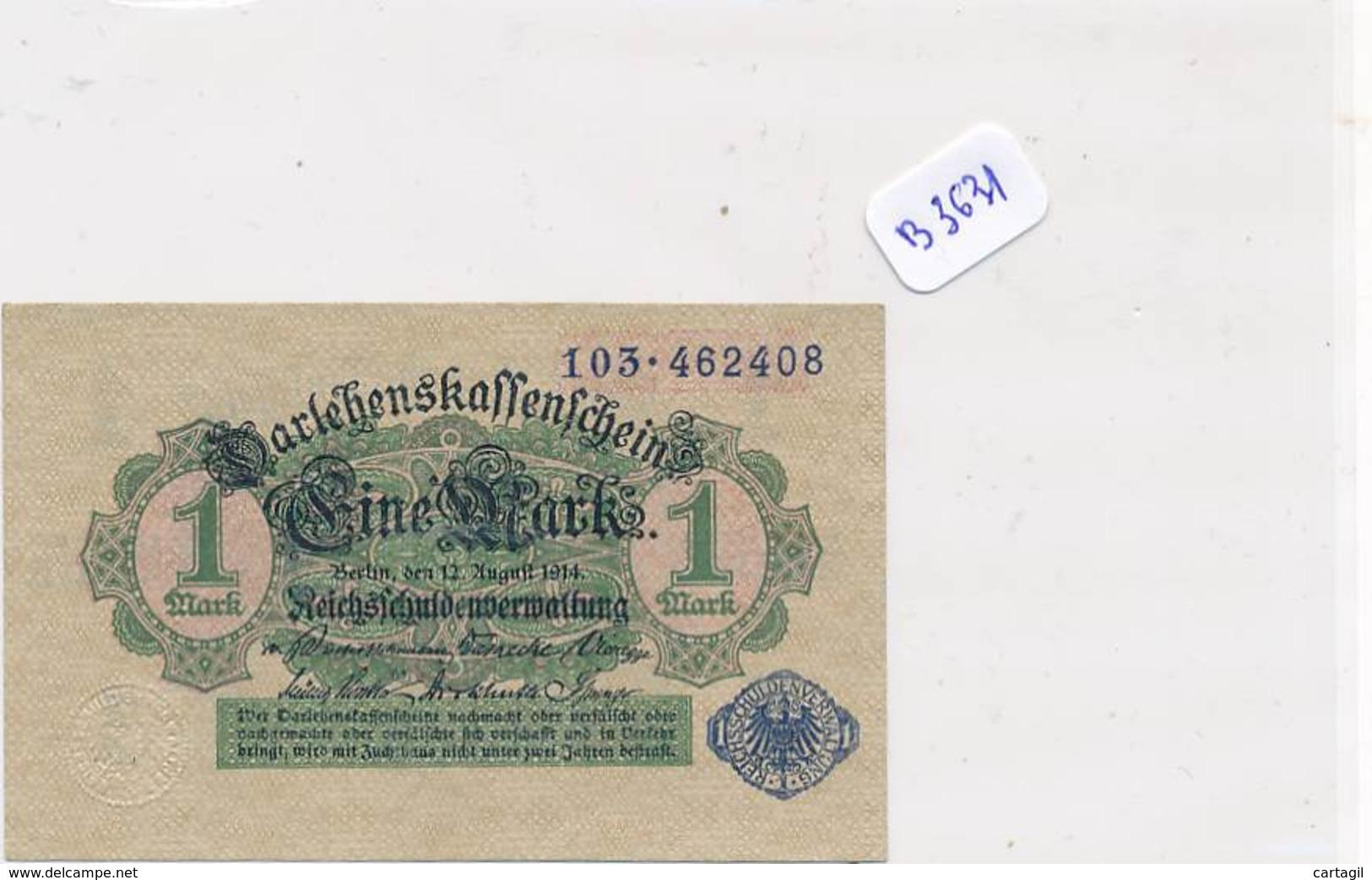 Numismatique -B3631 -Allemagne -1Mark Darlehnskassenshein 1914 ( Catégorie,  Nature état ... Scans)-Envoi Gratuit - [ 2] 1871-1918 : Impero Tedesco