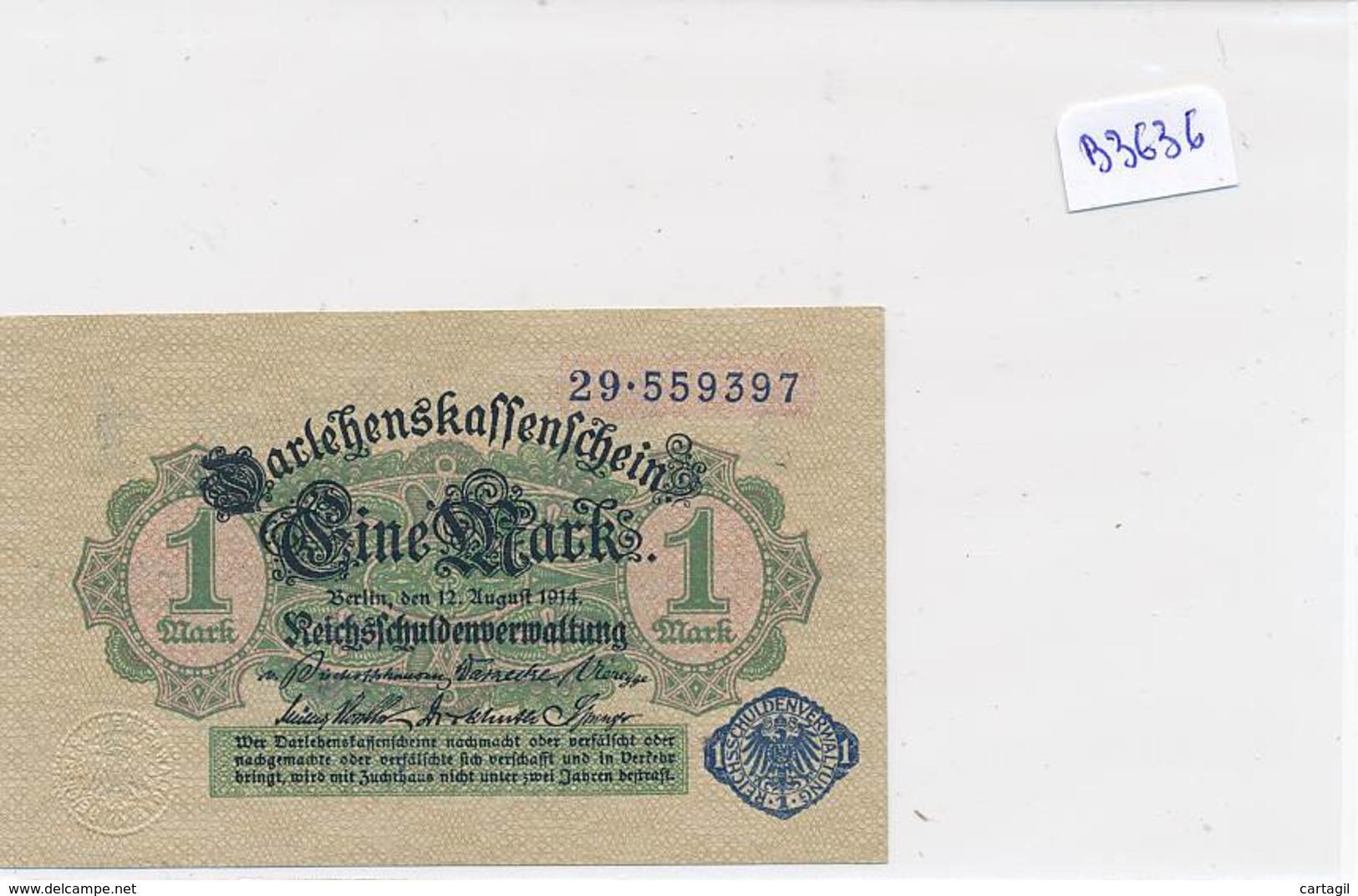 Numismatique -B3636 -Allemagne -1Mark Darlehnskassenshein 1914 ( Catégorie,  Nature état ... Scans)-Envoi Gratuit - [ 2] 1871-1918 : Impero Tedesco