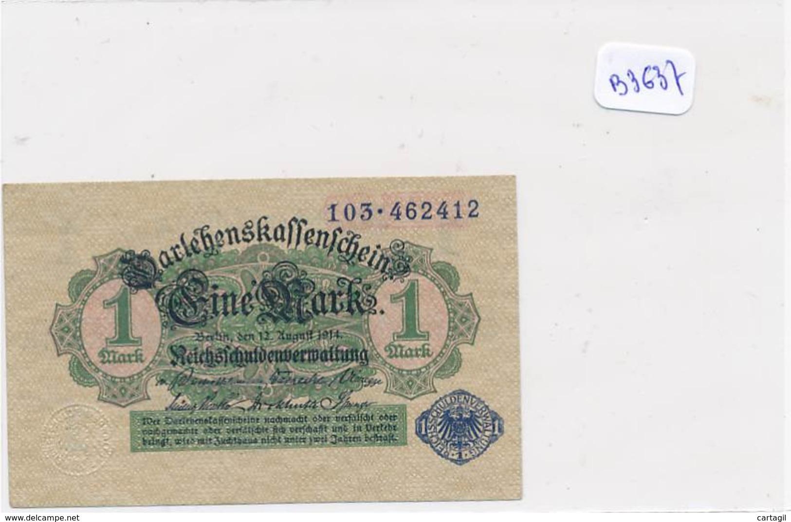 Numismatique -B3637 -Allemagne -1Mark Darlehnskassenshein 1914 ( Catégorie,  Nature état ... Scans)-Envoi Gratuit - Altri