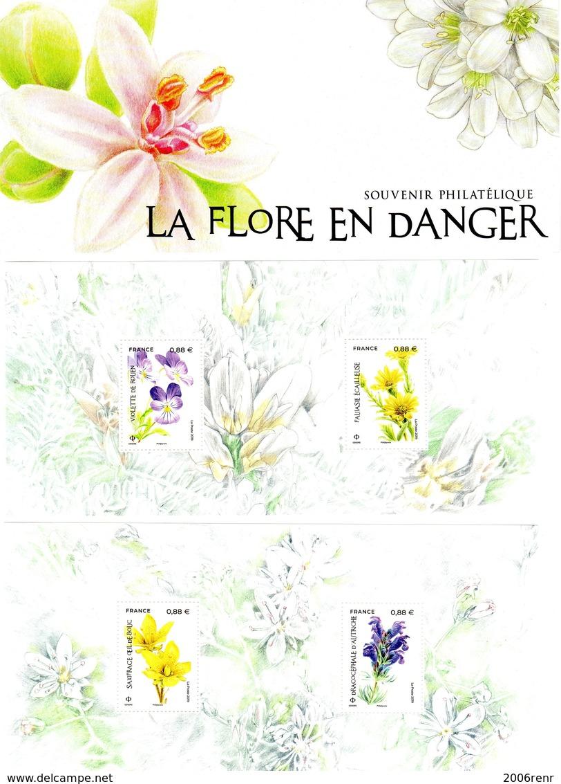 BLOC SOUVENIR LA FLORE EN DANGER (2 Blocs)** SOUS BLISTER  NON OUVERT. VOIR SCAN - Bloques Souvenir