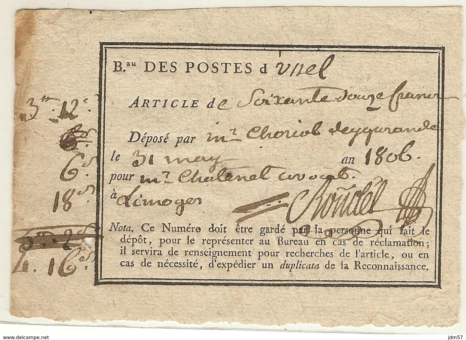 Reçu D'un Dépôt D'argent Au Bureau De Poste D'Ussel (Corréze) Pour Limoges. 1806 - 1801-1848: Precursori XIX