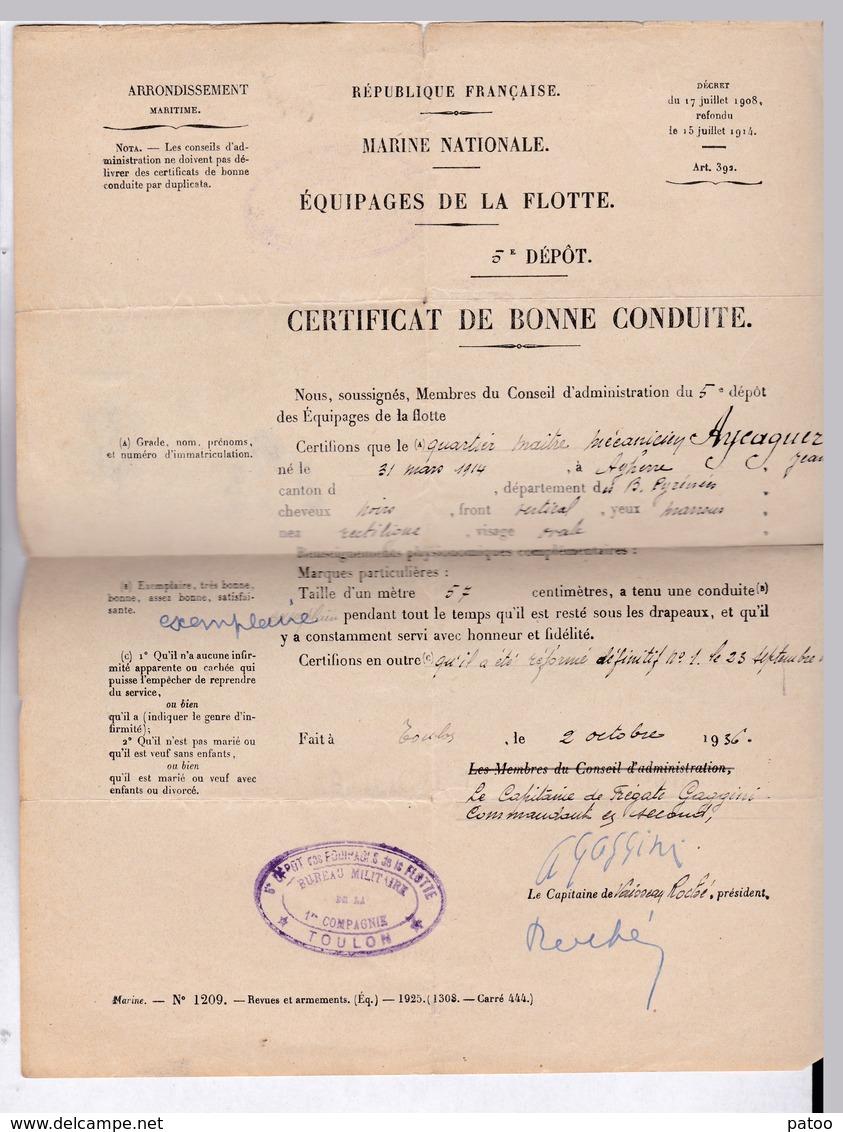 MARINE NATIONALE / CERTIFICAT BONNE CONDUITE(EXEMPLAIRE) ET NOTIFICATION DE REFORME D'UN QUARTIER MAITRE EN 1936 - Boats