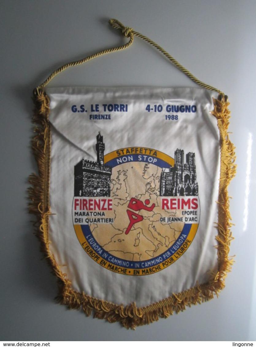 1988 FANION 25,5 X 30 Cm G.S REIMS ÉPOPÉE JEANNE D'ARC LE TORRI FIRENZE MARATHON - Athlétisme